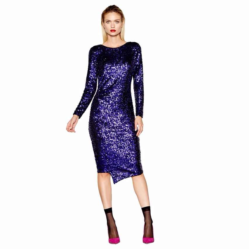 model wearing Studio by Preen Purple Sequin Midi Dress