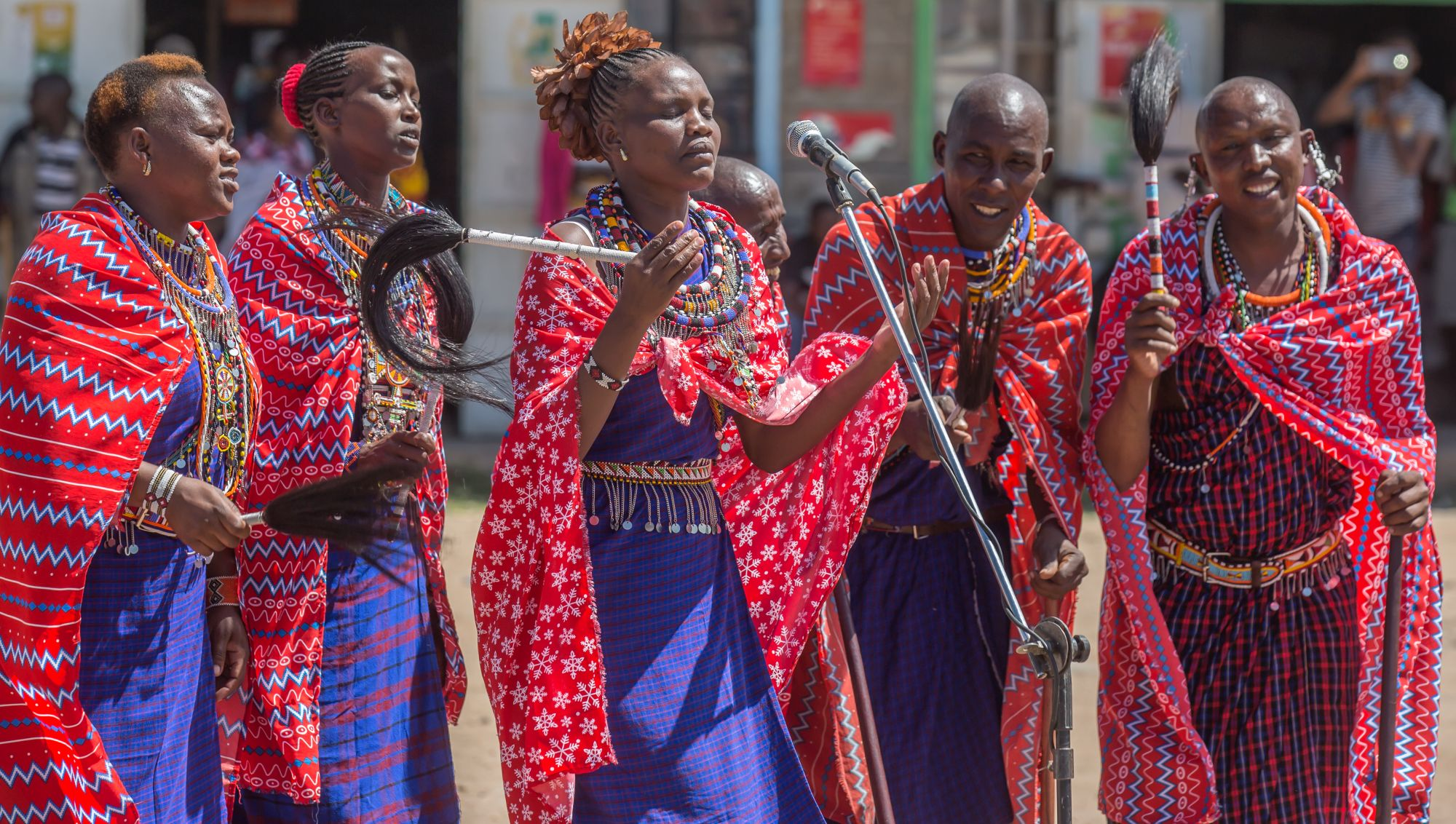 Maasai women singing as part the show (Paul Goldstein/PA)