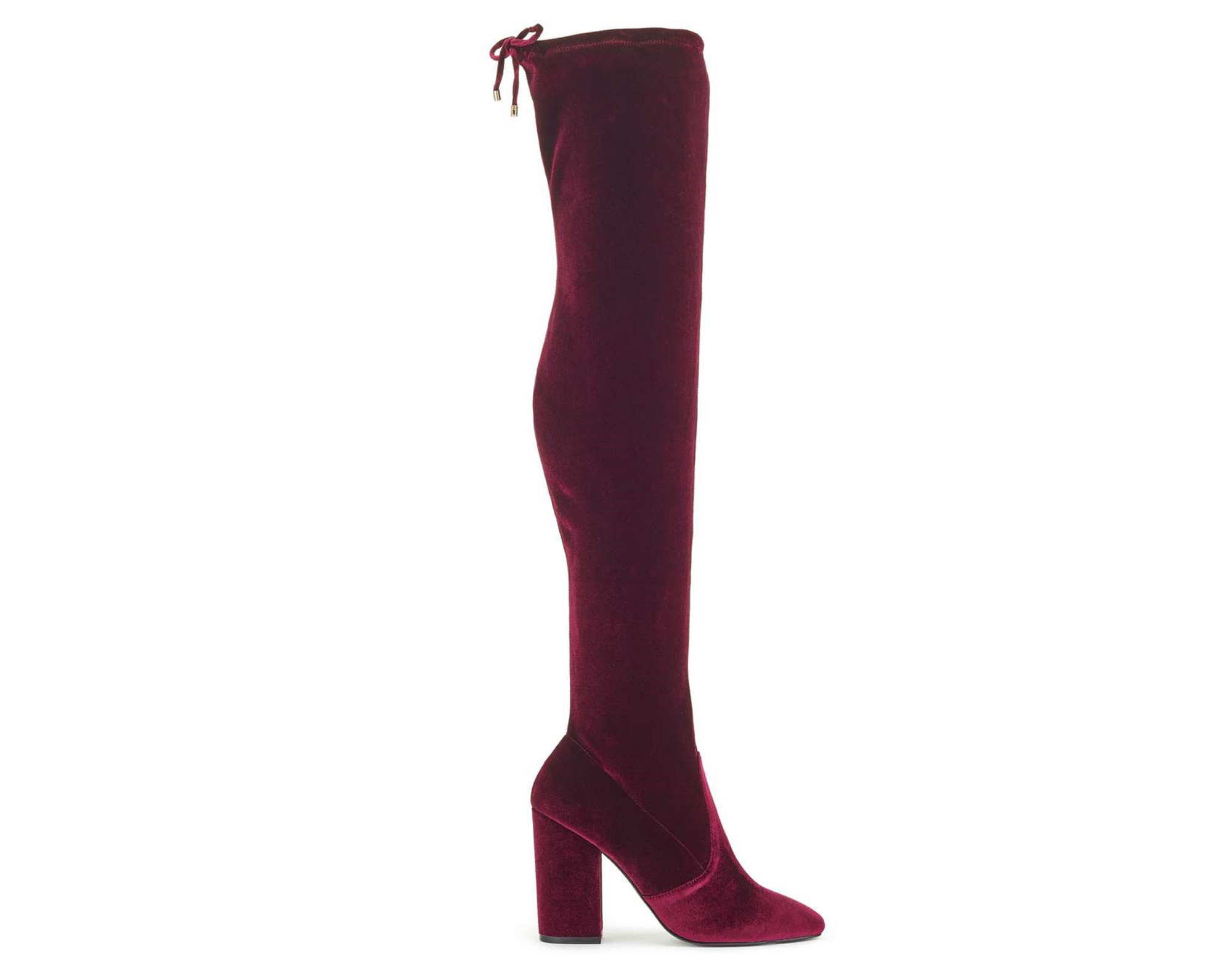 Miss Selfridge Koko Velvet Burgundy Boots