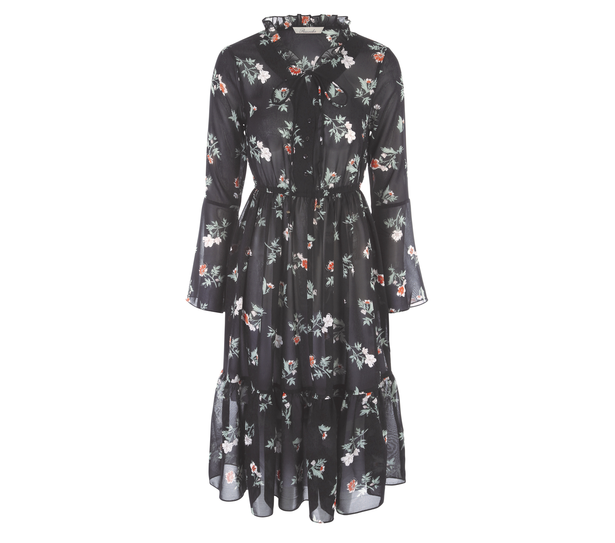 Peacocks Women's Black Floral Dress