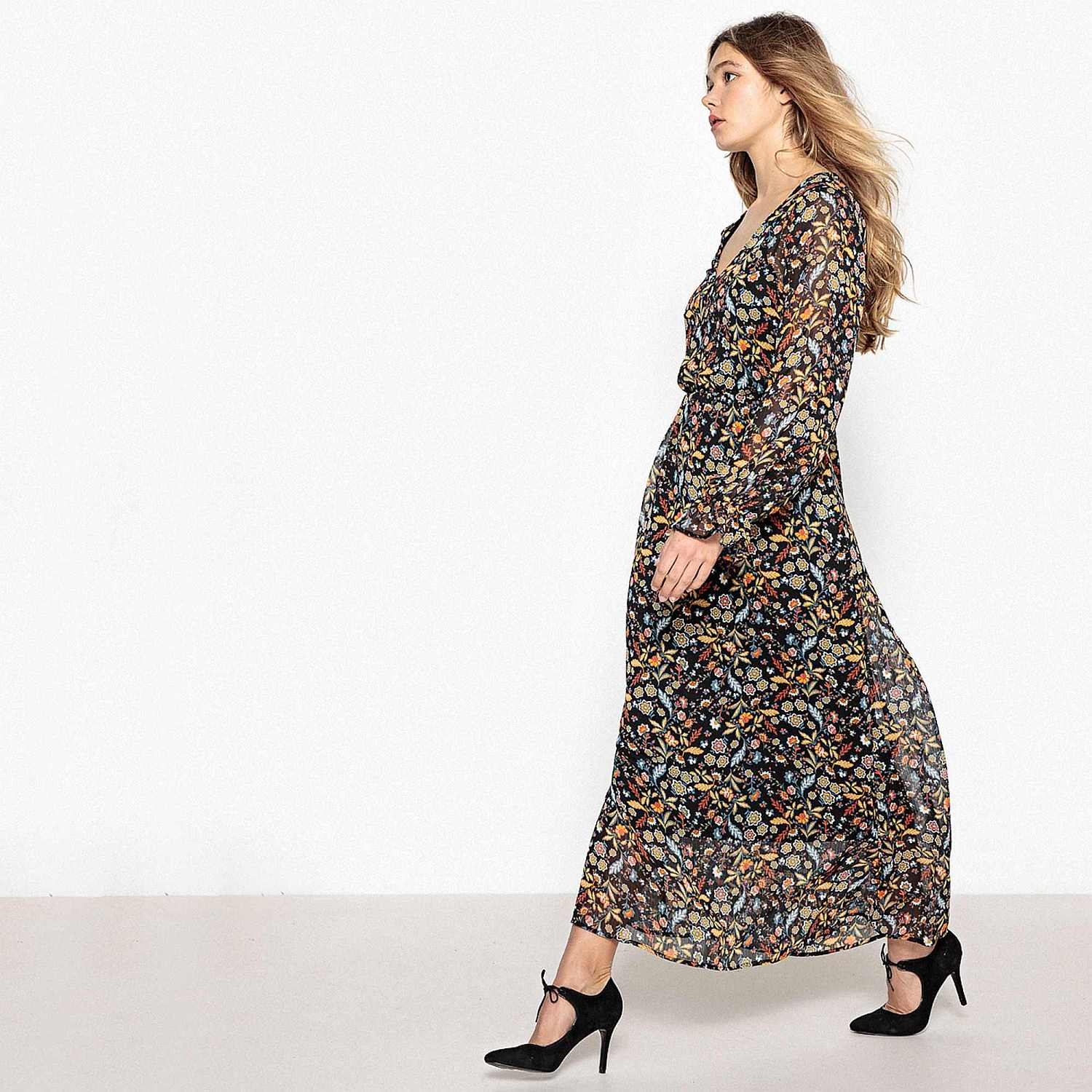 Model wearing La Redoute Floral Print Folk Dress and Black Ankle Tie Leather Heels