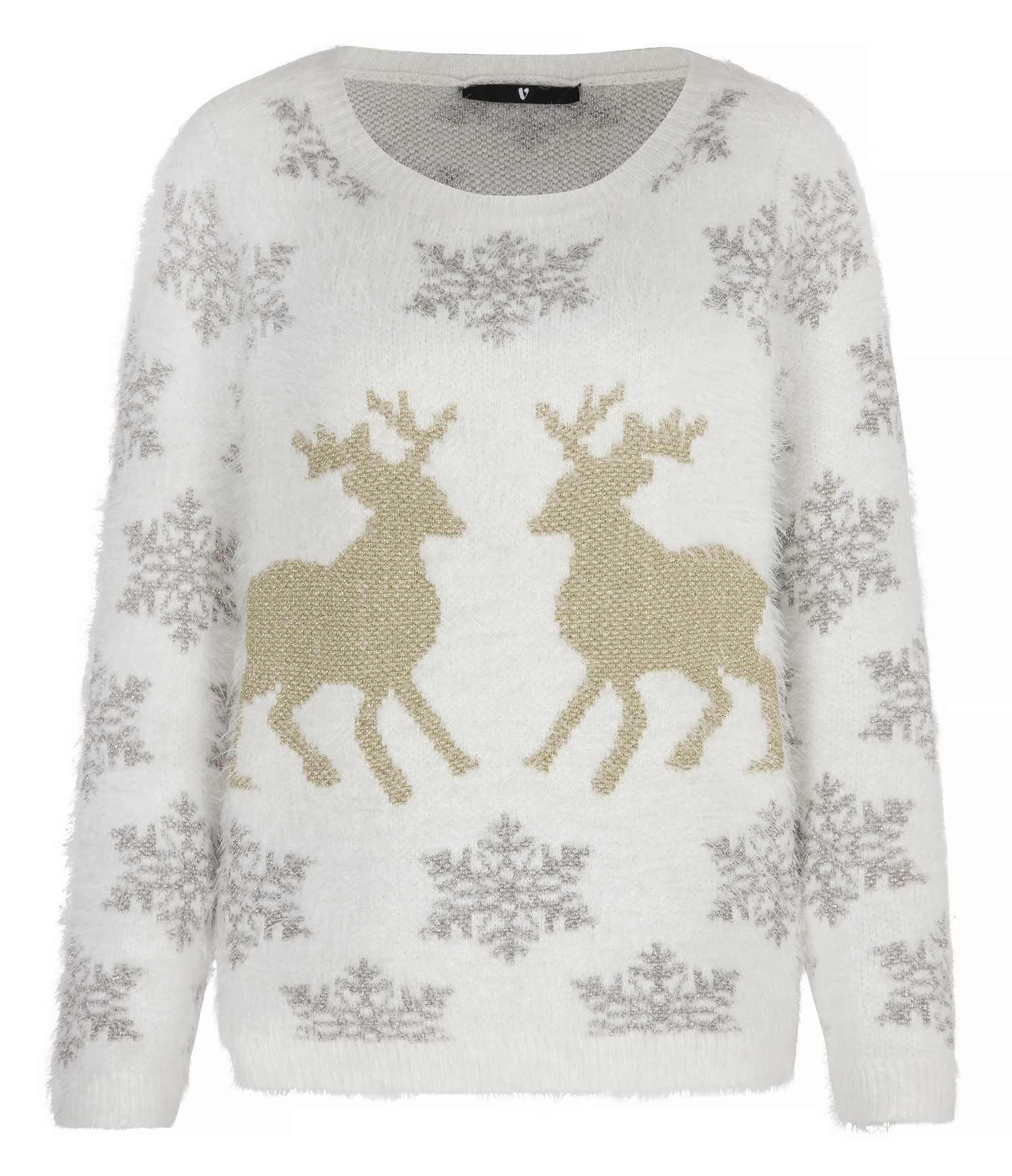 V by Very Sparkling Reindeer Fluffy Jumper