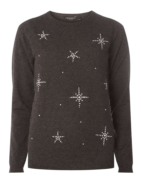 Dorothy Perkins Charcoal Snowflake Embellished Jumper