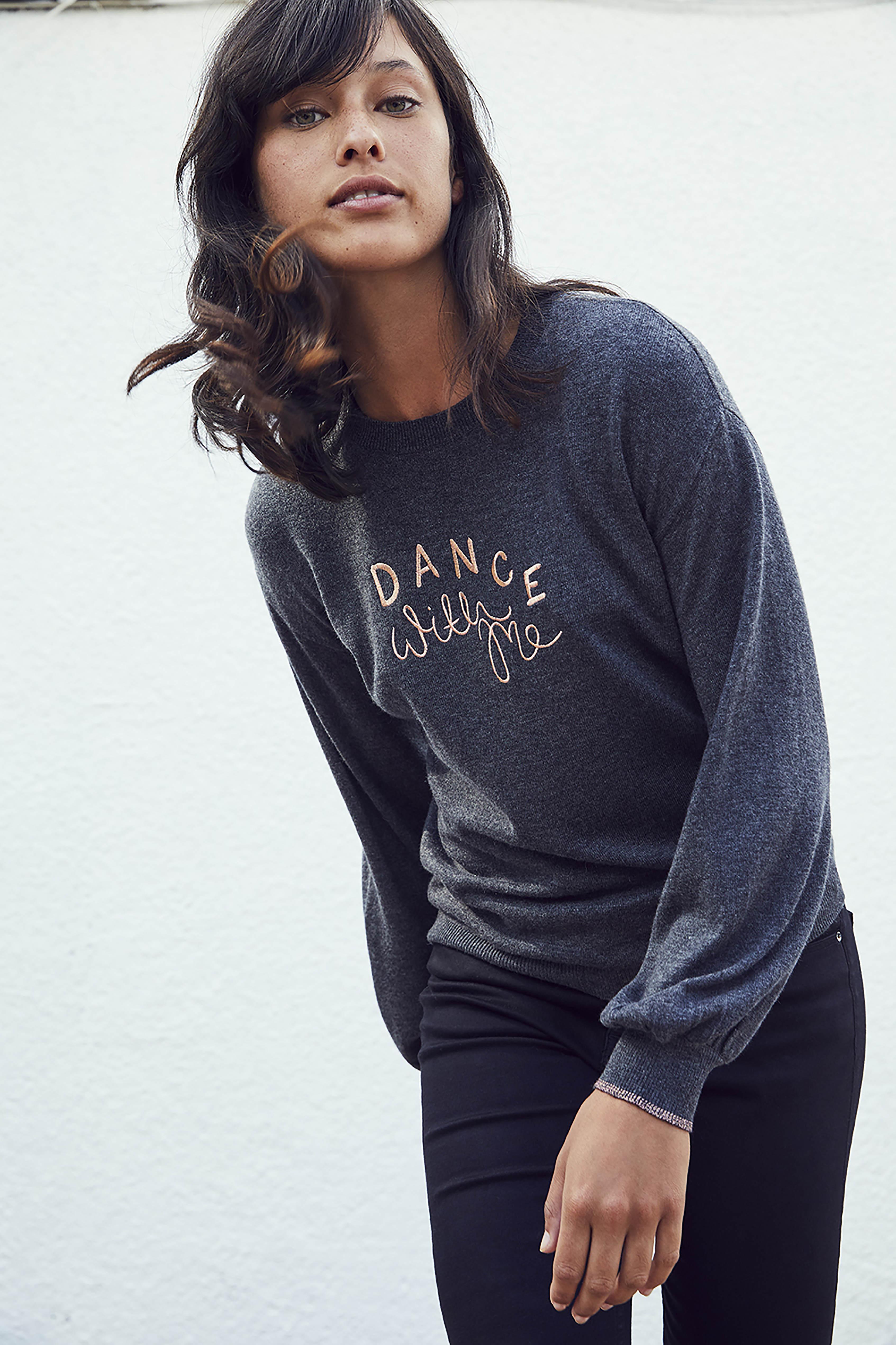 model wearing Oliver Bonas Dance With Me Jumper