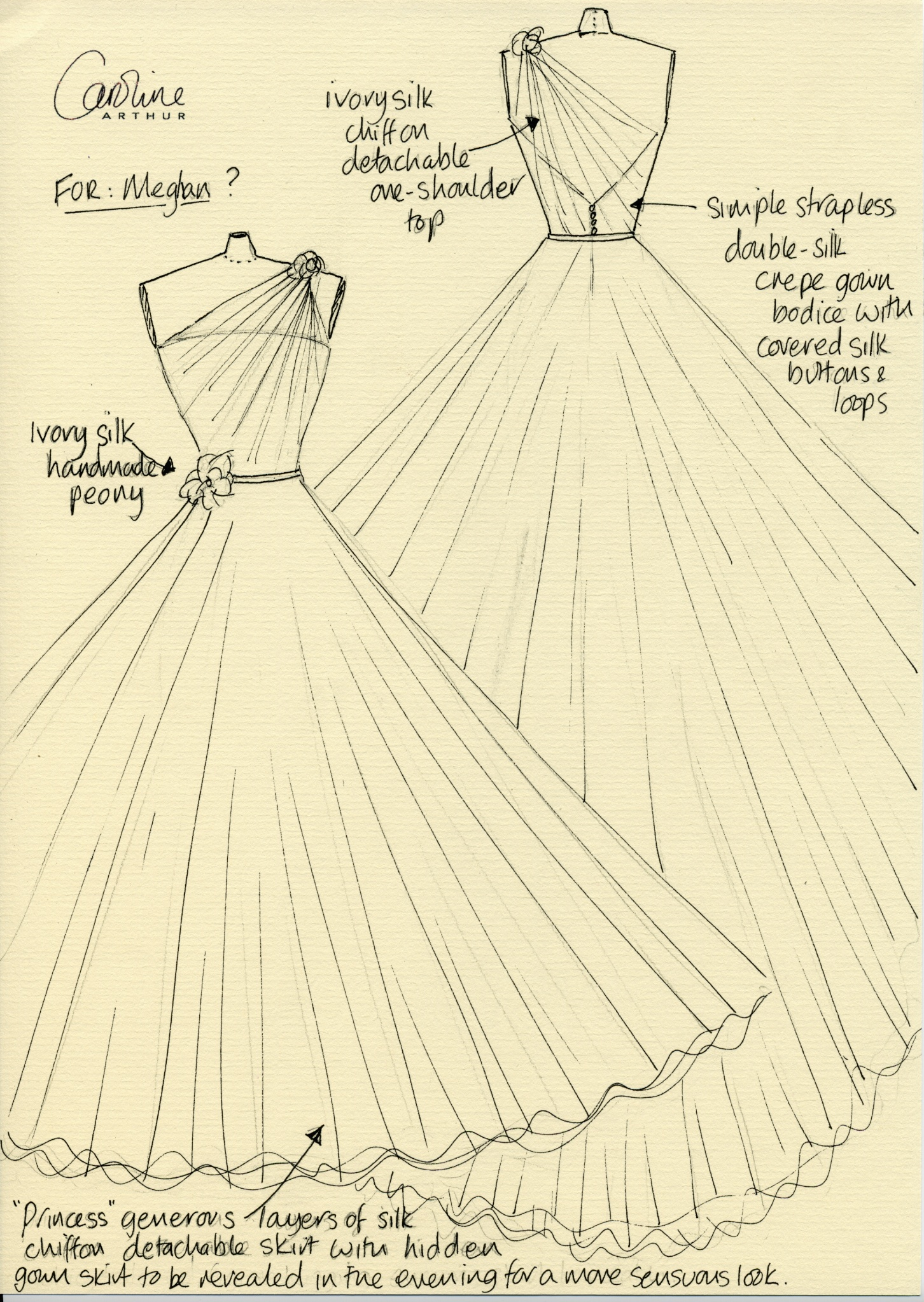 Bridal designer Caroline Arthur's sketch of what she imagines Meghan Markle's wedding dress will look like