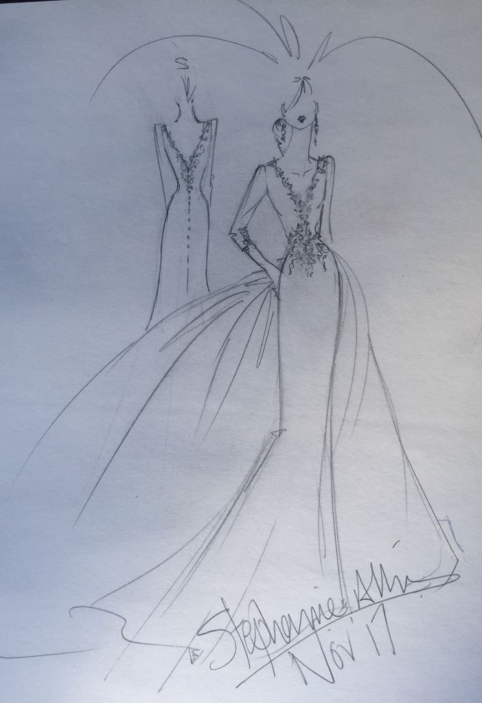Bridal designer Stephanie Allin's vision of what Meghan Markle's wedding dress might look like