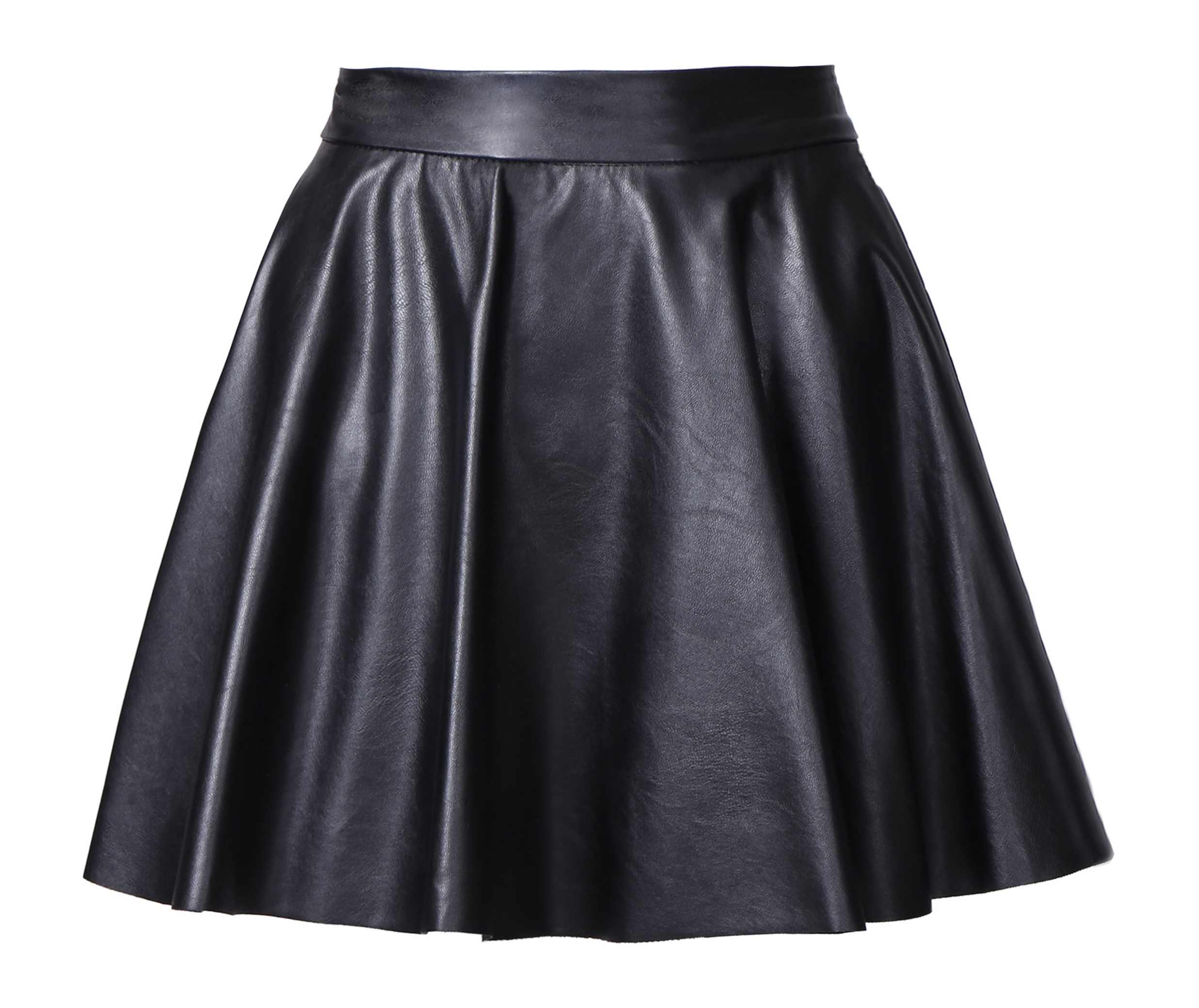 Black Leatherette Skater Skirt
