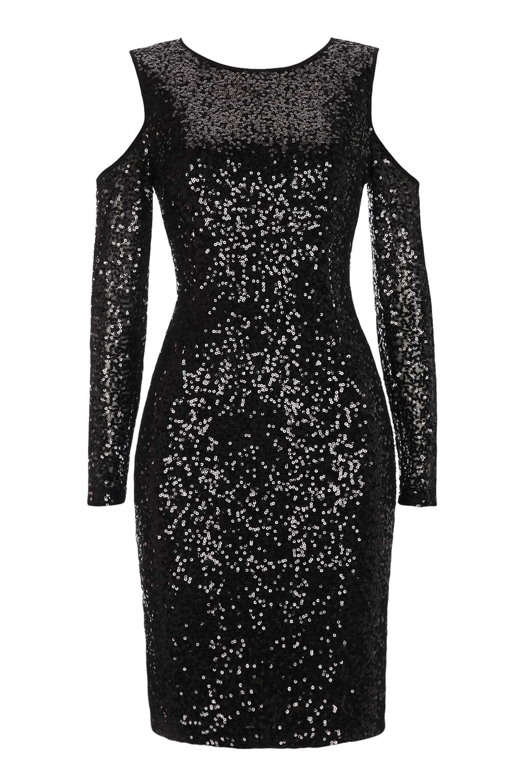 Wallis Black Sequin Embellished Cold Shoulder Shift Dress