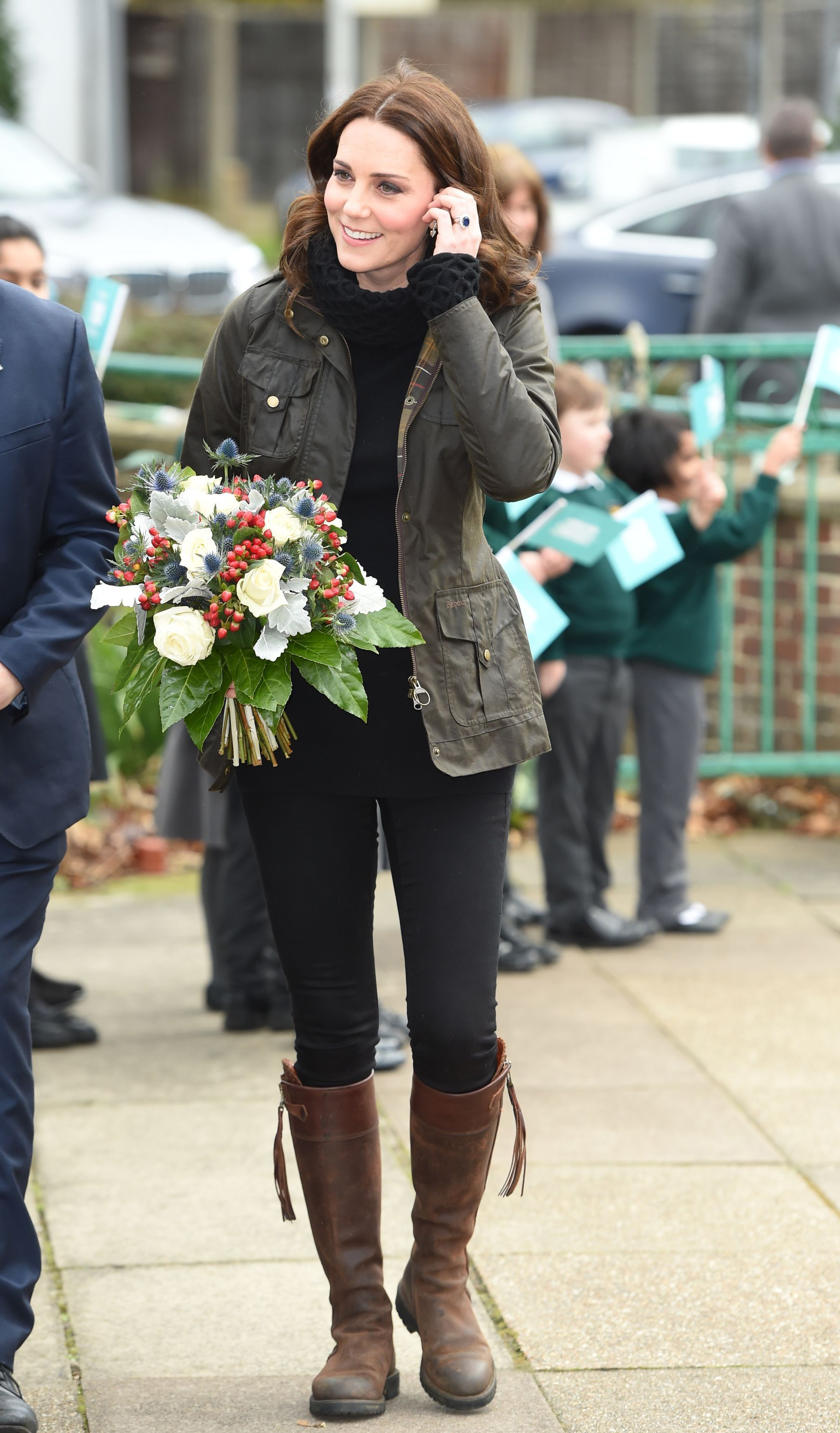 The Duchess of Cambridge arrives for a visit to the Robin Hood Primary School in London