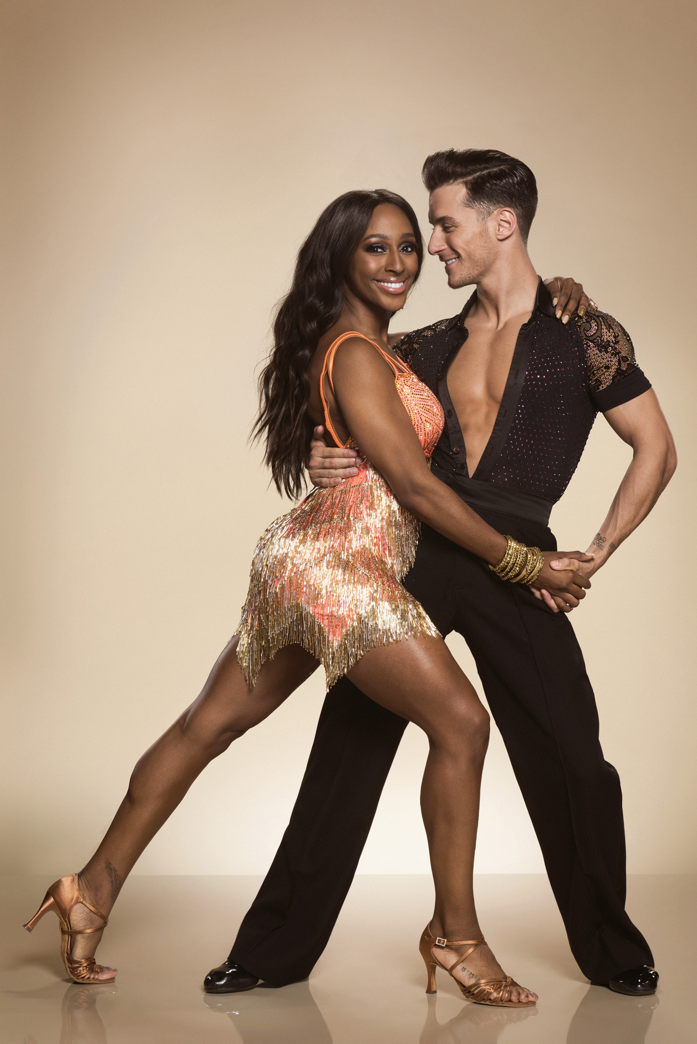 Alexandra Burke with her professional dance partner, Gorka Marquez on Strictly Come Dancing 2017. (BBC/ Ray Burmiston/PA)