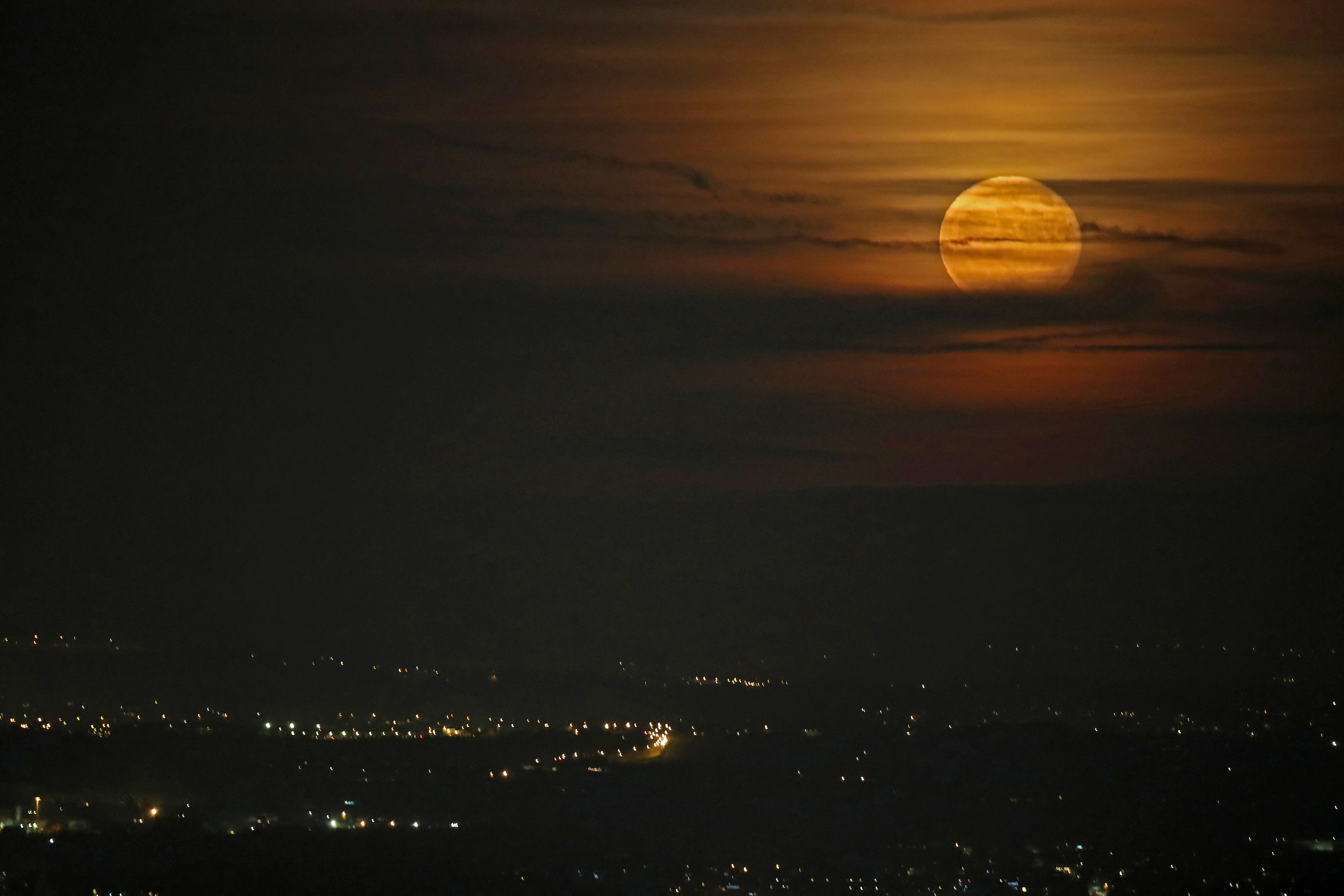 A supermoon in 2016 seen over Lancashire