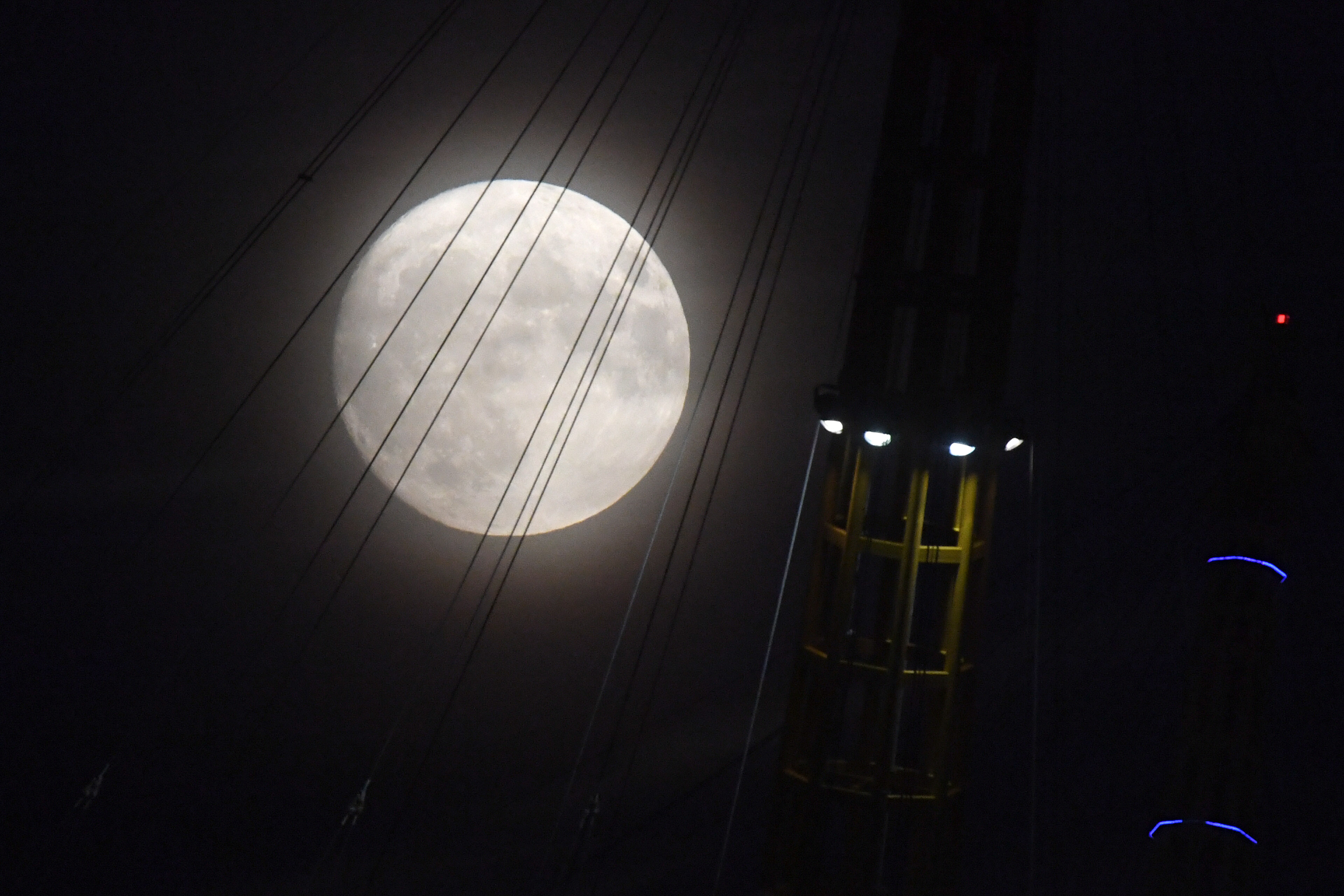 The moon over the O2 Arena in south-east London