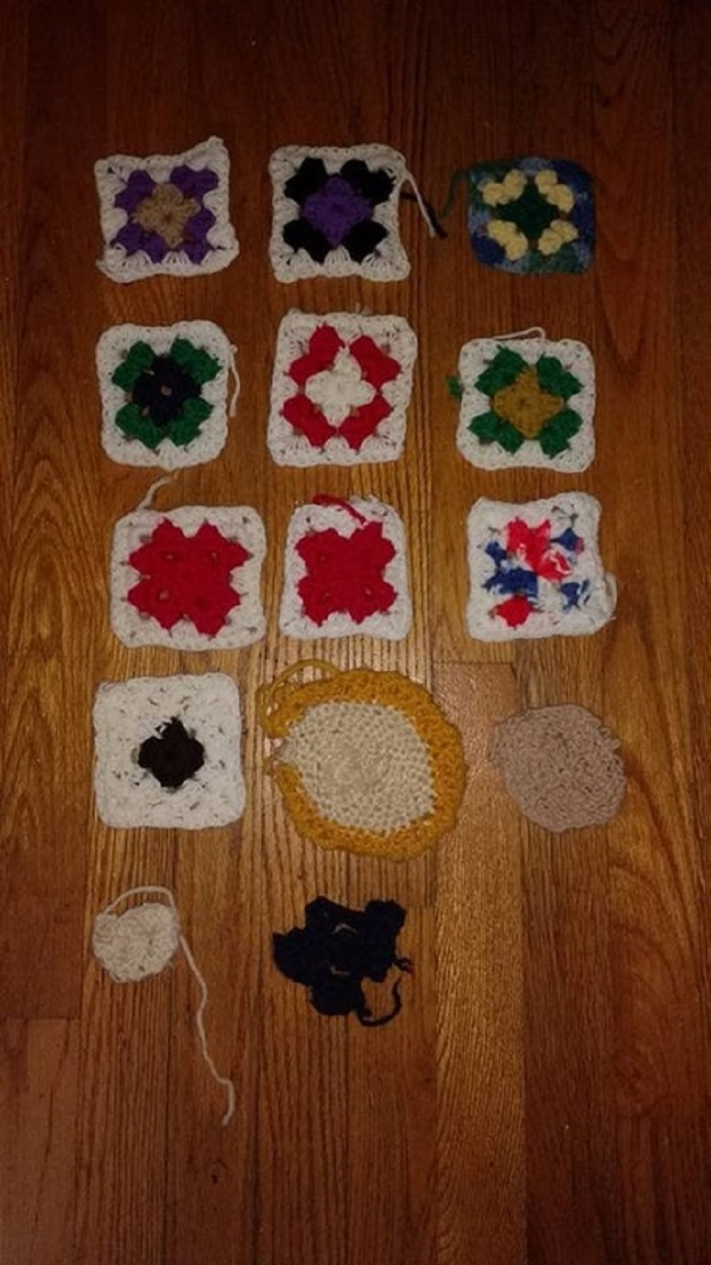 Rene's crocheting progression