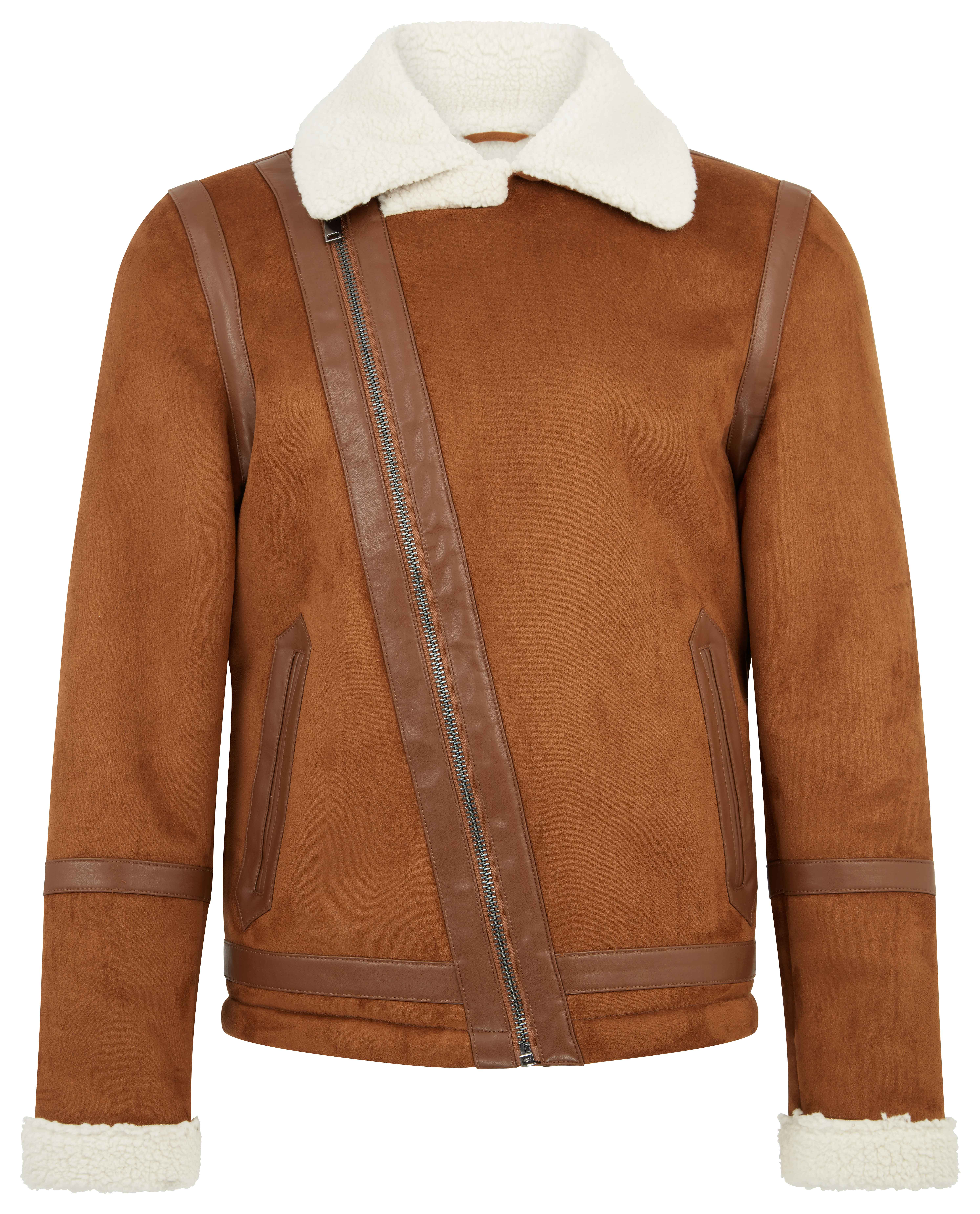 River Island Brown Faux Suede Borg Collar Biker Jacket