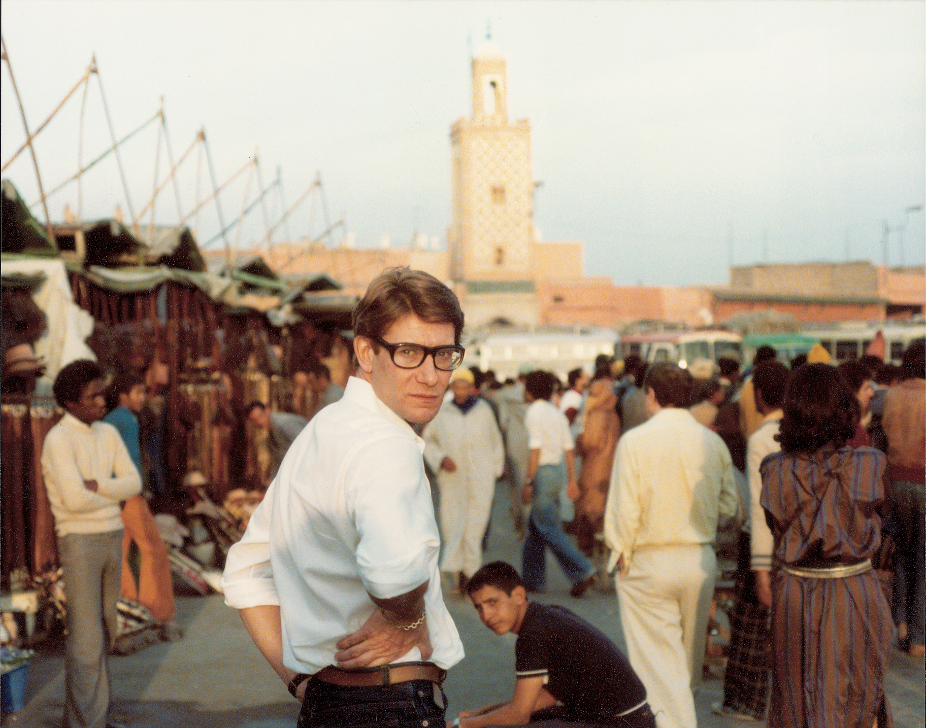 Yves Saint Laurent in Place Djemaa El Fna. (Reginald Gray/PA)