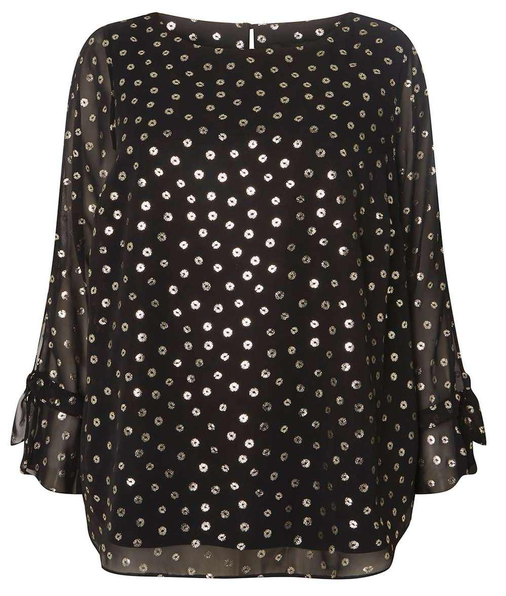 Dorothy Perkins Curve Black Gold Spot Blouse