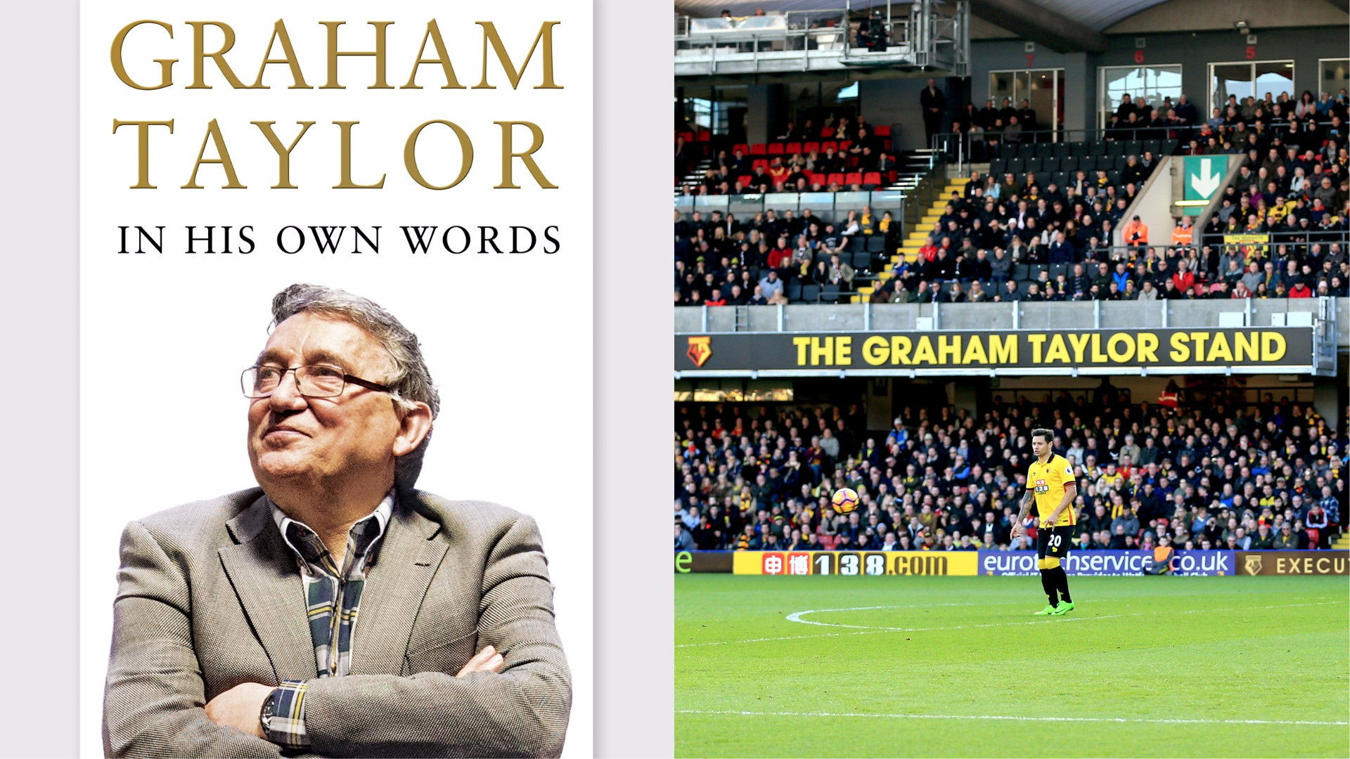 Graham Taylor's autobiography and an image of the Graham Taylor stand at Vicarage Road