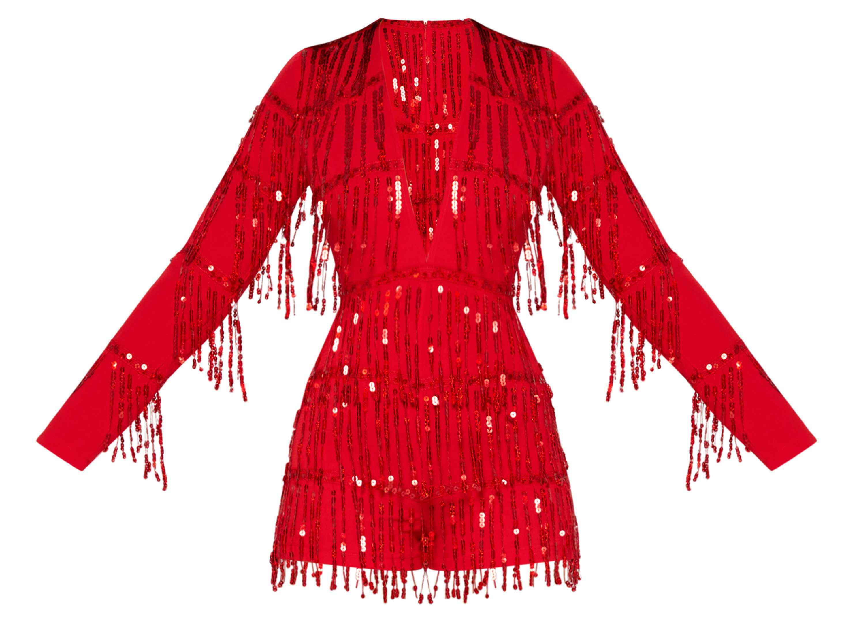 Pretty Little Thing Red Tassel Sequin Long Sleeve Playsuit