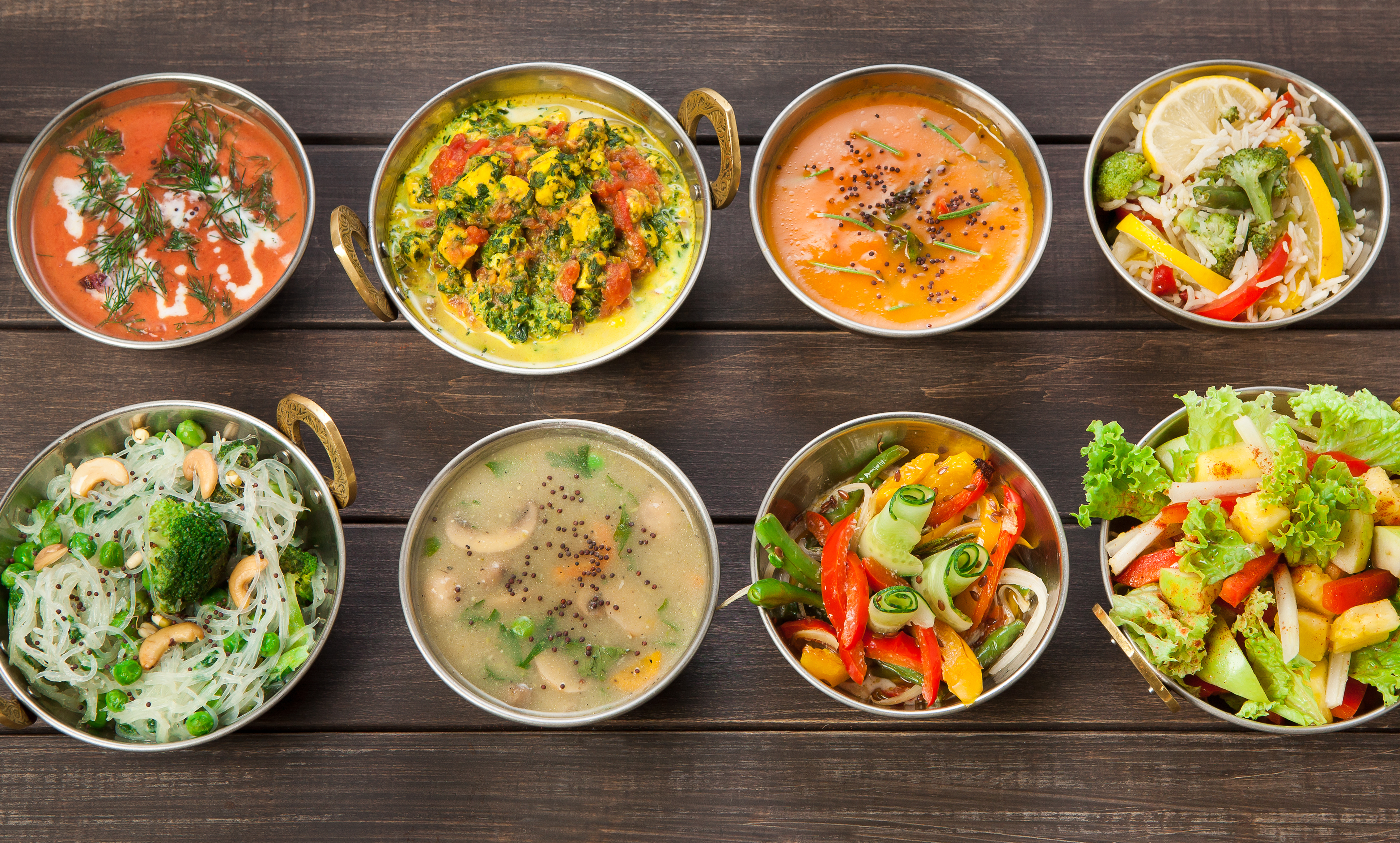 Why well all soon be cooking the ayurvedic way bt vegan or vegetarian restaurant dishes top view hot spicy indian soups rice and salads forumfinder Choice Image