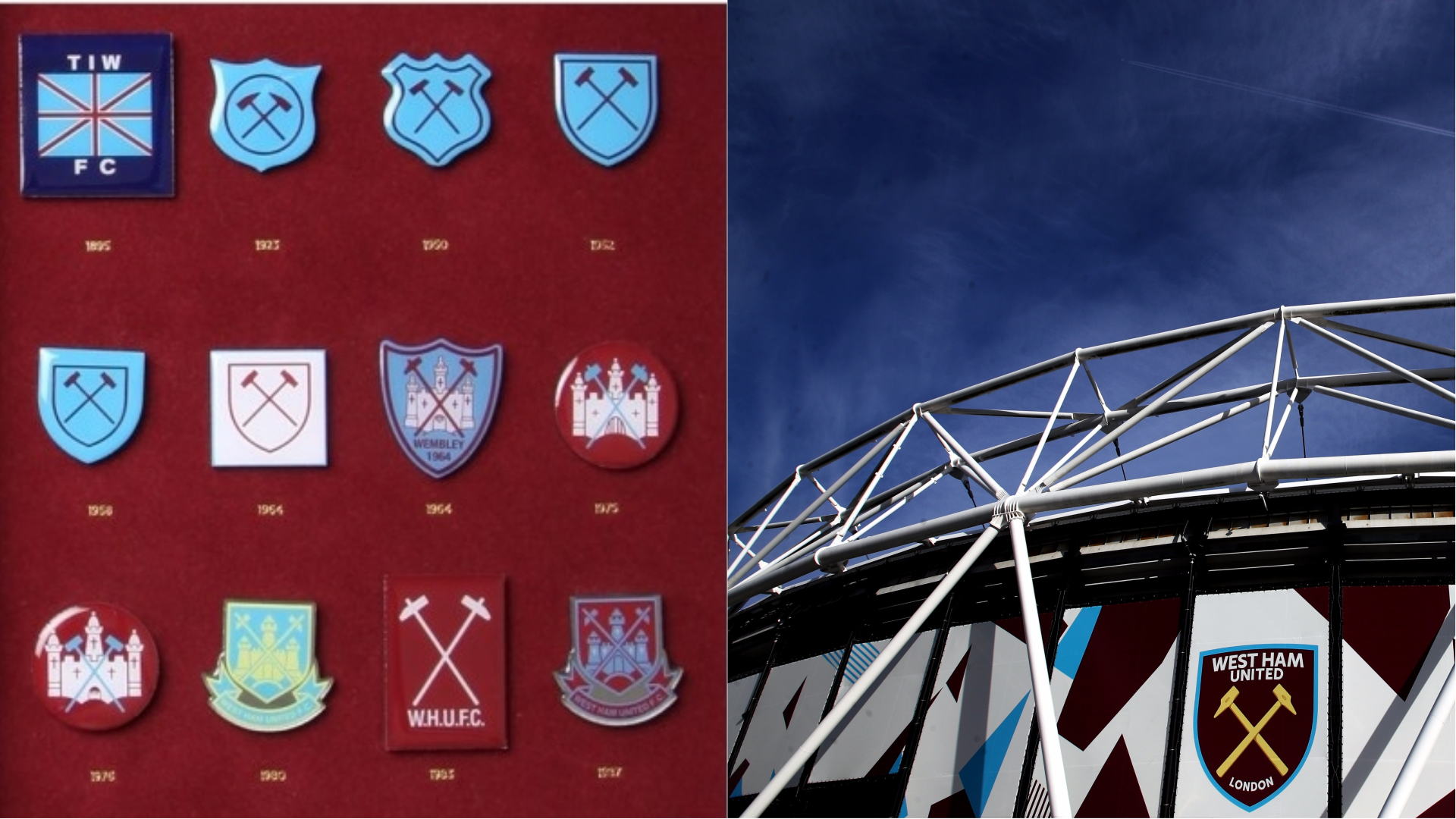 A West Ham badge collection and the London Stadium