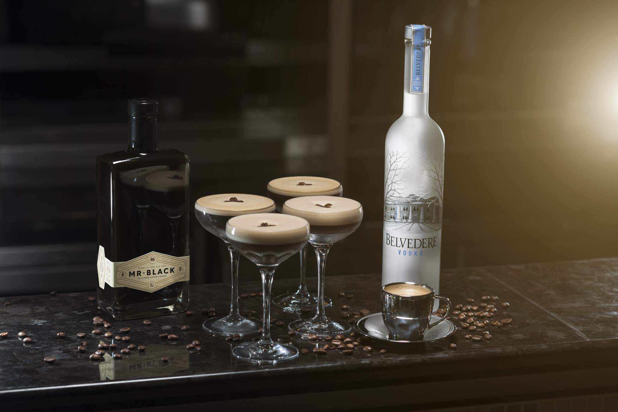 Belvedere vodka and espresso martinis