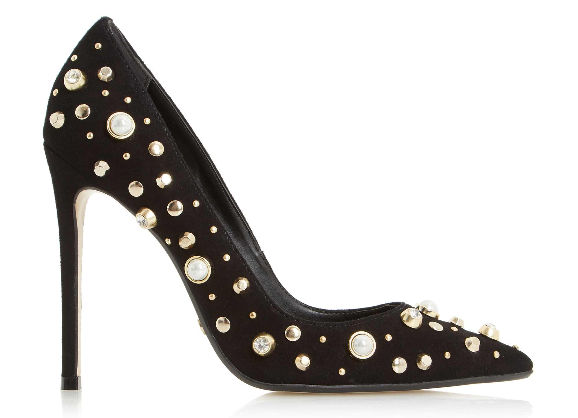 Dune Bertta Black Pearl Studded Court Shoes