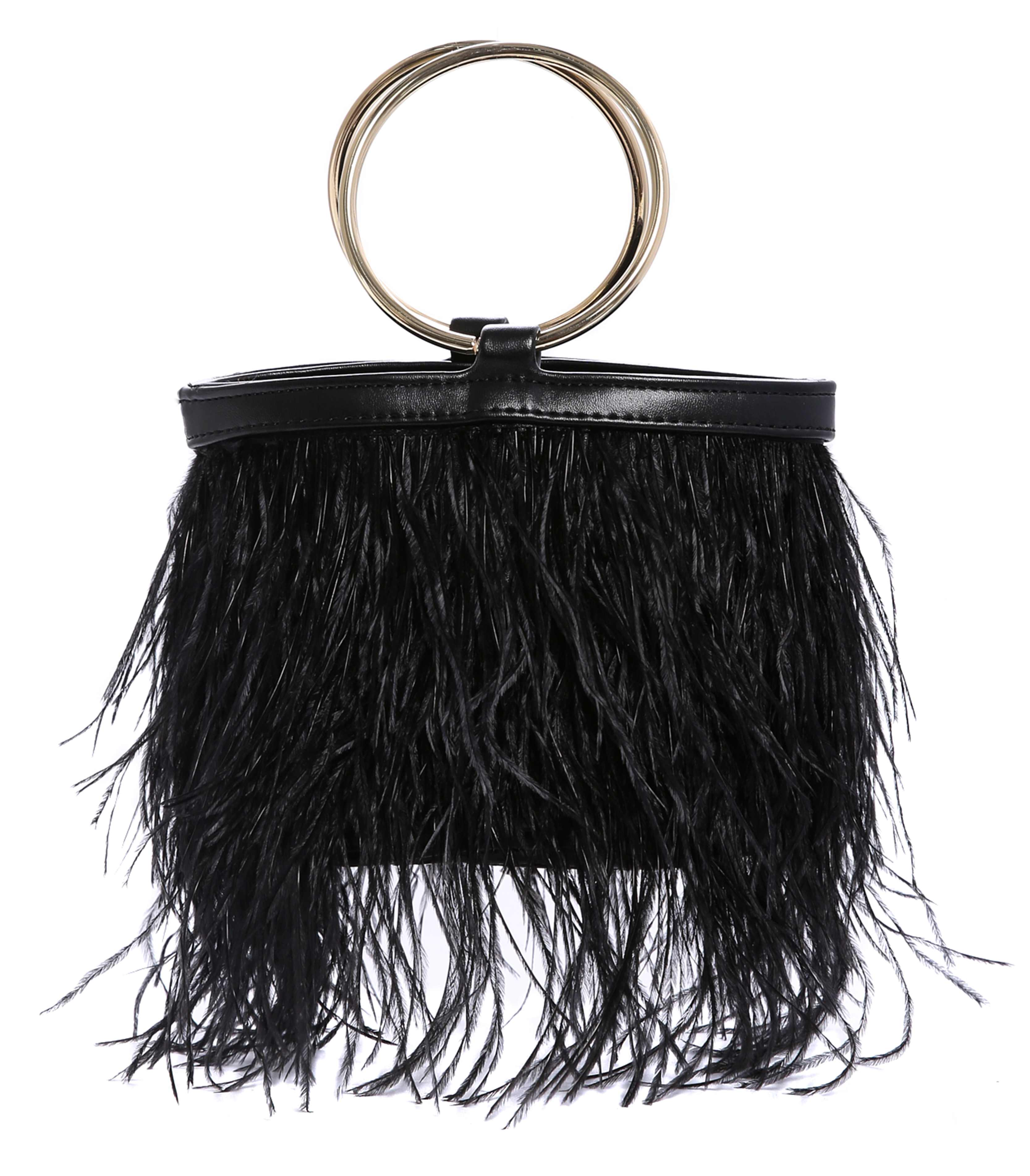 I Saw It First Faux Feather Bag with Circular Handle