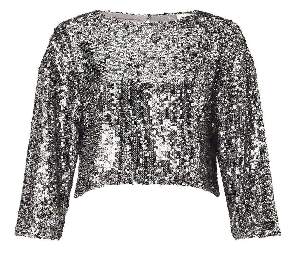 Miss Selfridge Silver Sequin Embellished Top and Silver Sequin Hanky Hem Skirt