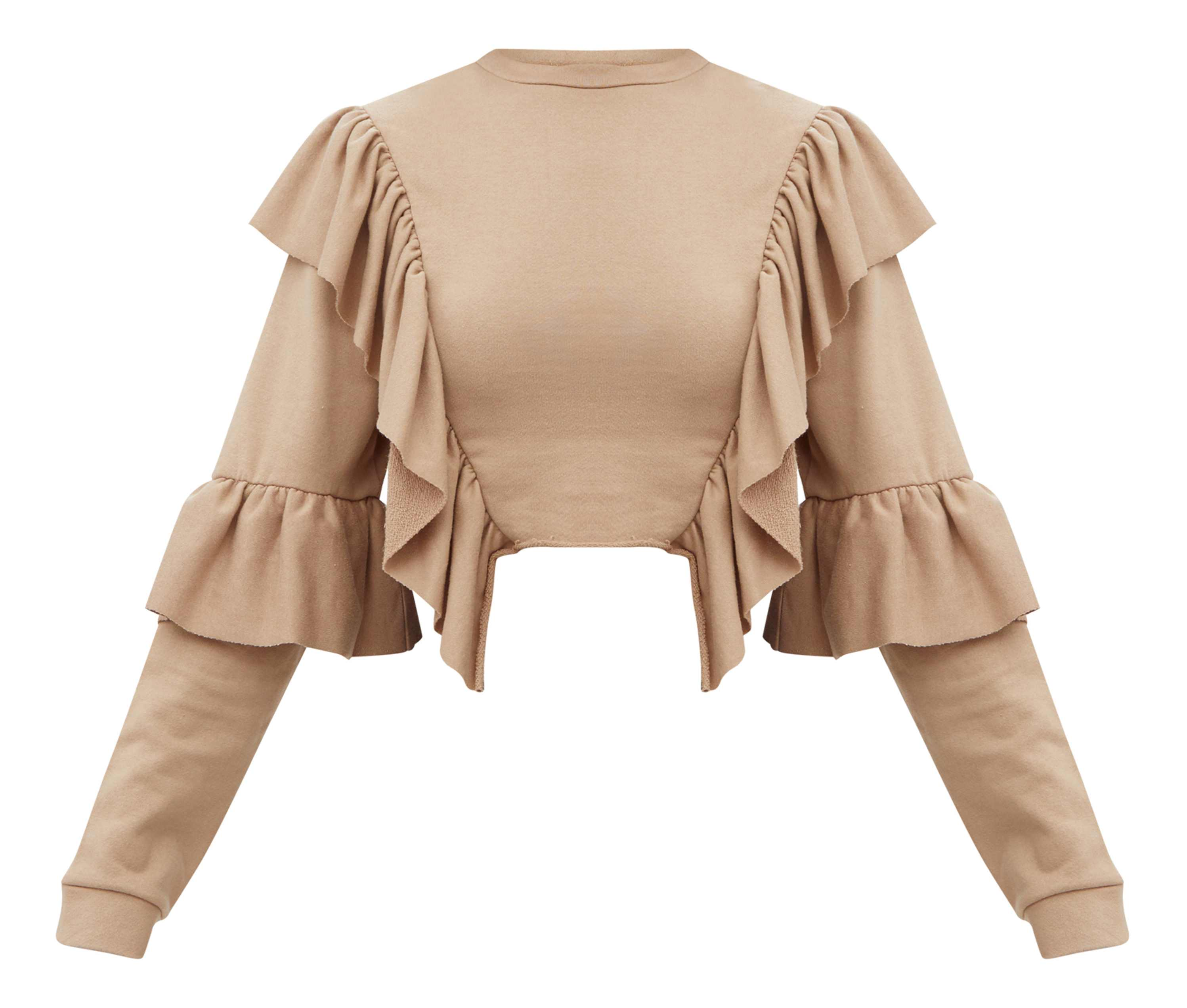 Pretty Little Thing Taupe Ruffle Frill Crop Sweater