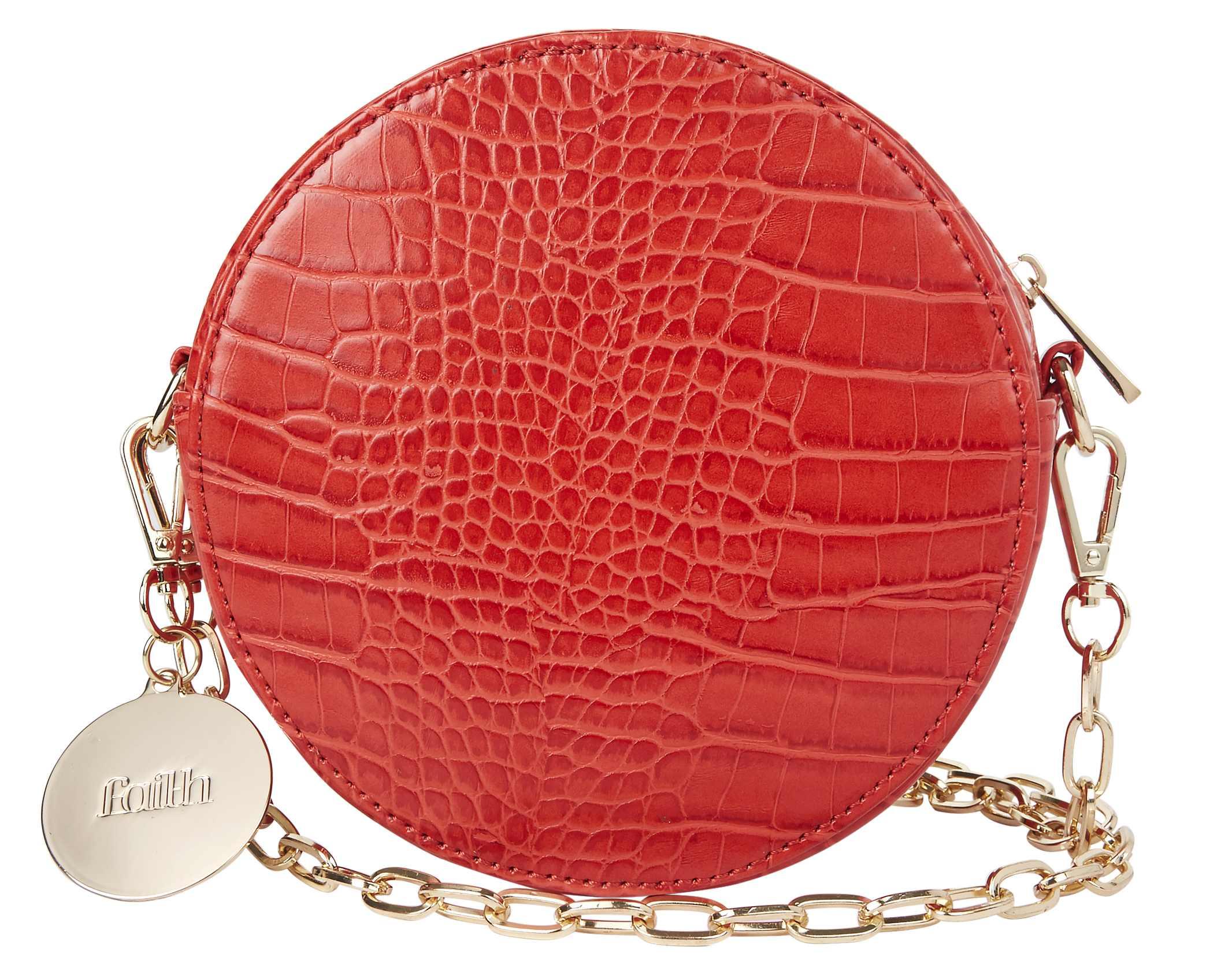 Faith Orange Croc Effect Circle Cross Body Bag