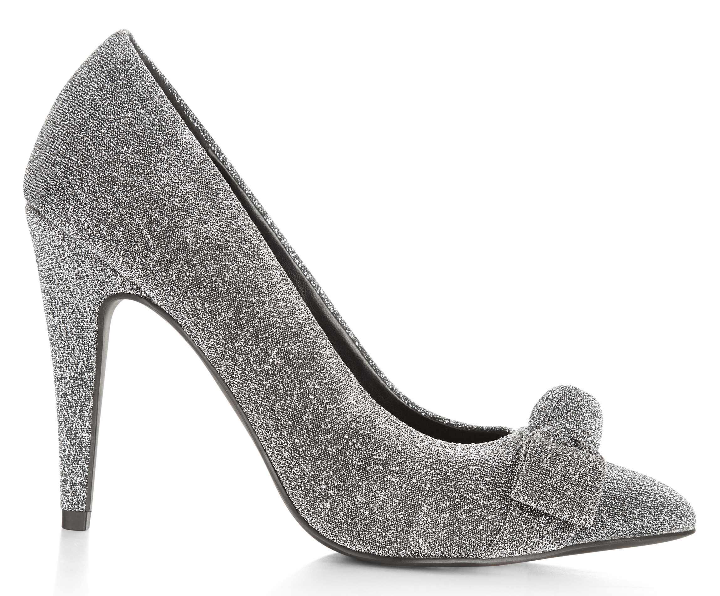 New Look Silver Glitter Bow Pointed Court Heels