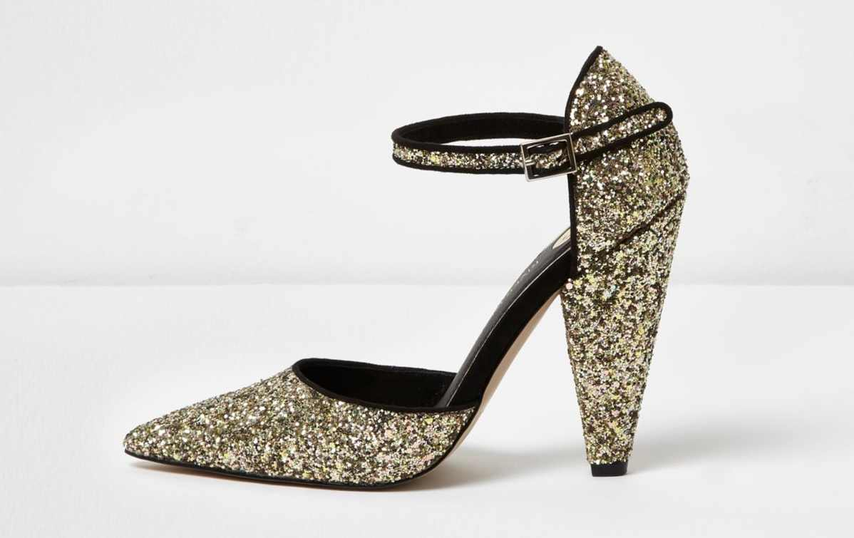 River Island Gold Glitter Two Part Cone Heel Court Shoes