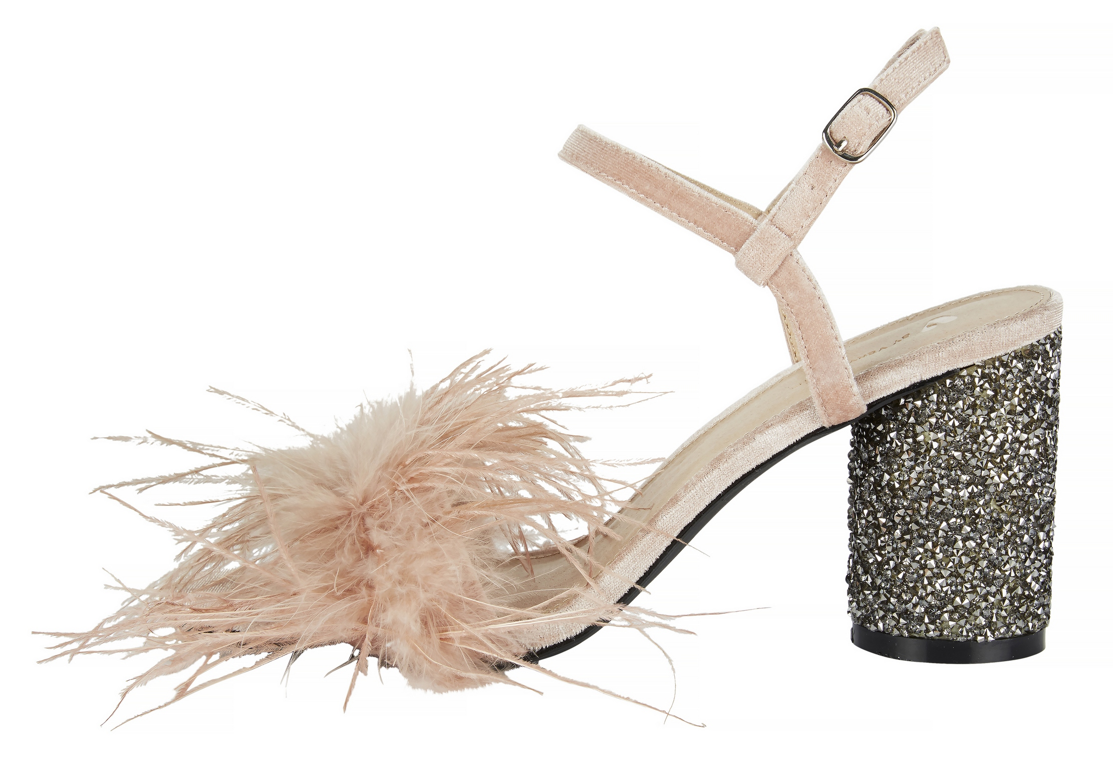 V by Very Kayla Feather Glitter Heel Nude Sandals