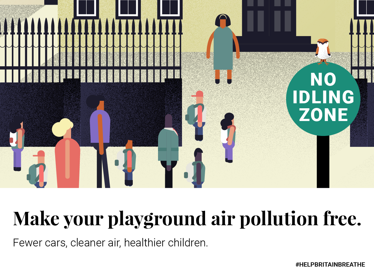 A cartoon of a children's playground full of children with a No Idling Zone sign (Help Britain Breathe/PA)