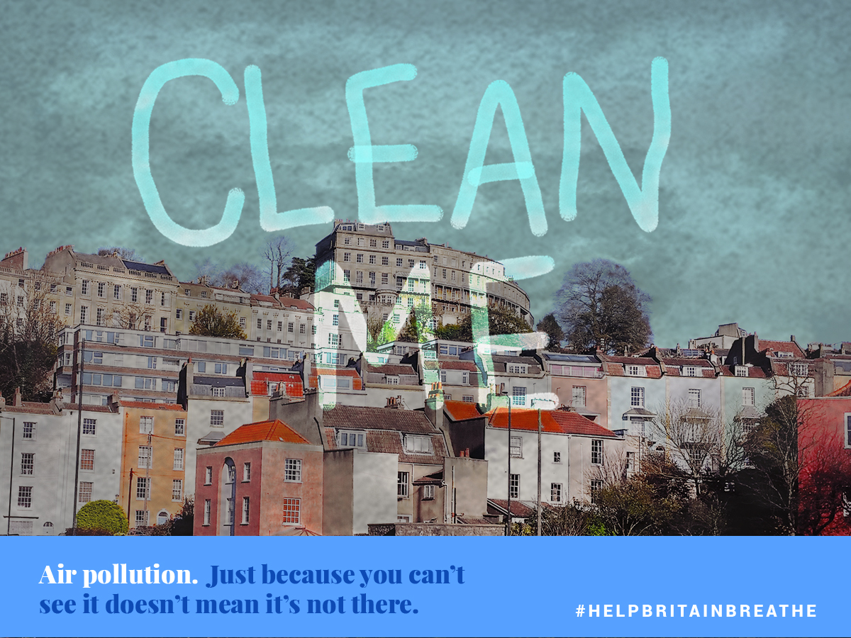 A view of a smoggy city with the slogan 'Clean Me' over it (Help Britain Breathe/PA)