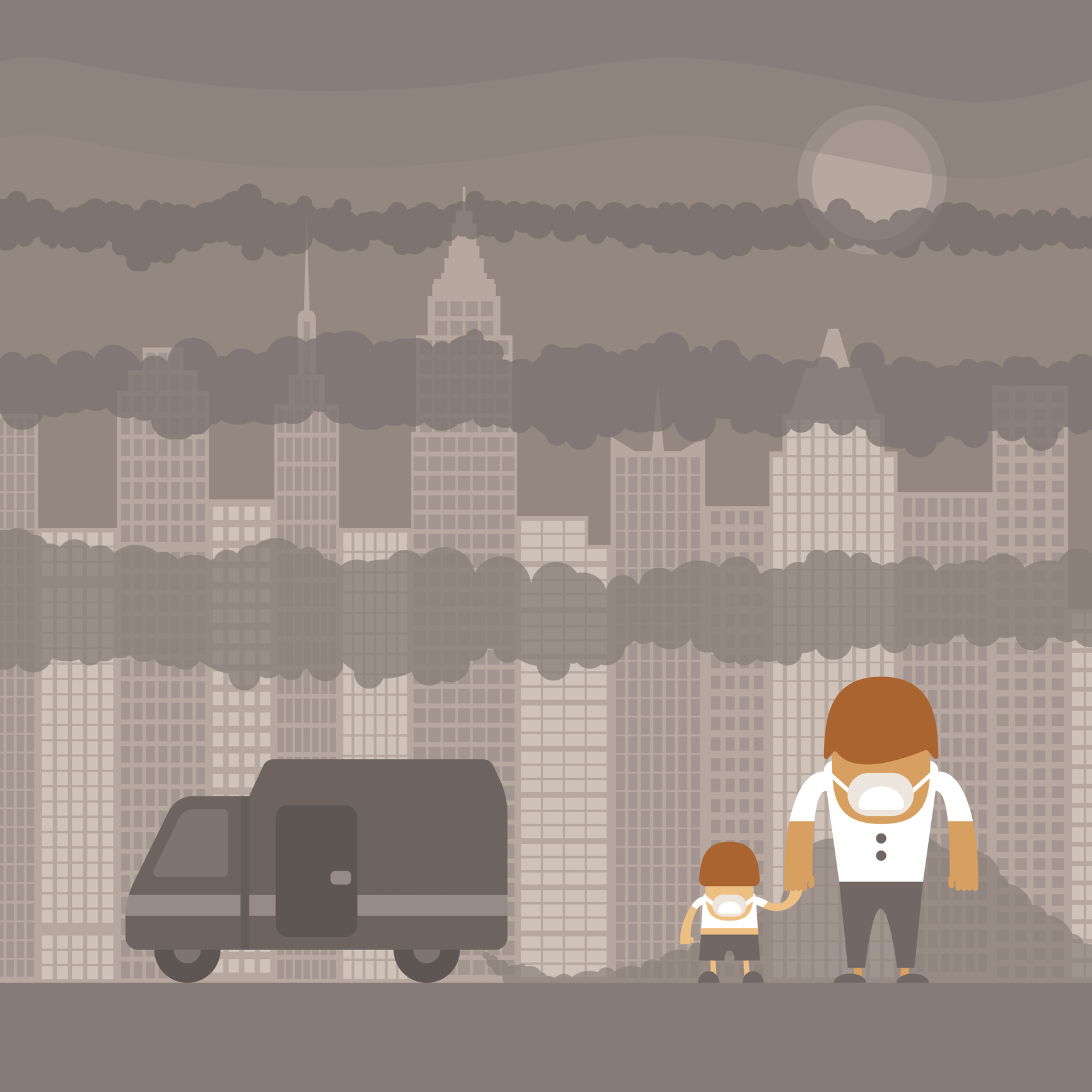 A cartoon of a father and son walking through a smoggy city (Thinkstock/PA)