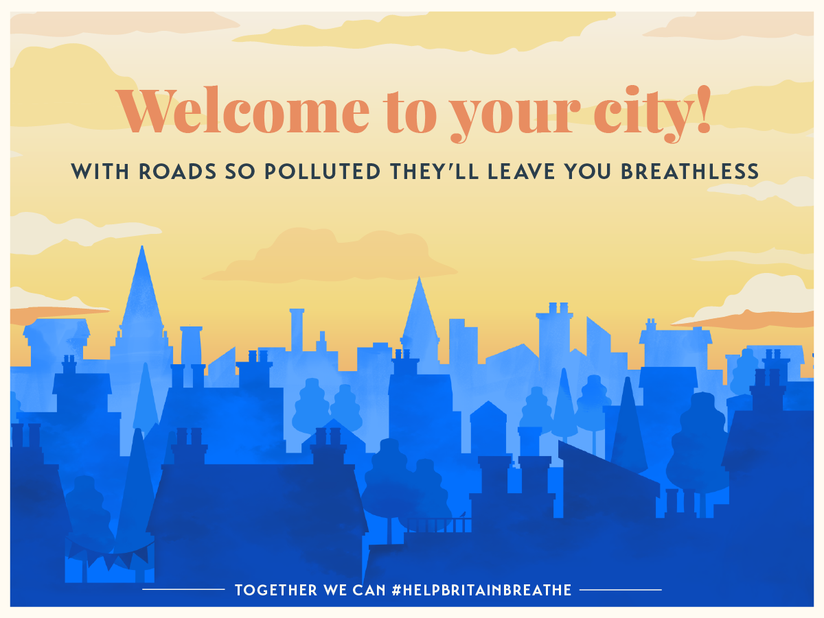 An illustration of a smoggy city skyline (Help Britain Breathe/PA)