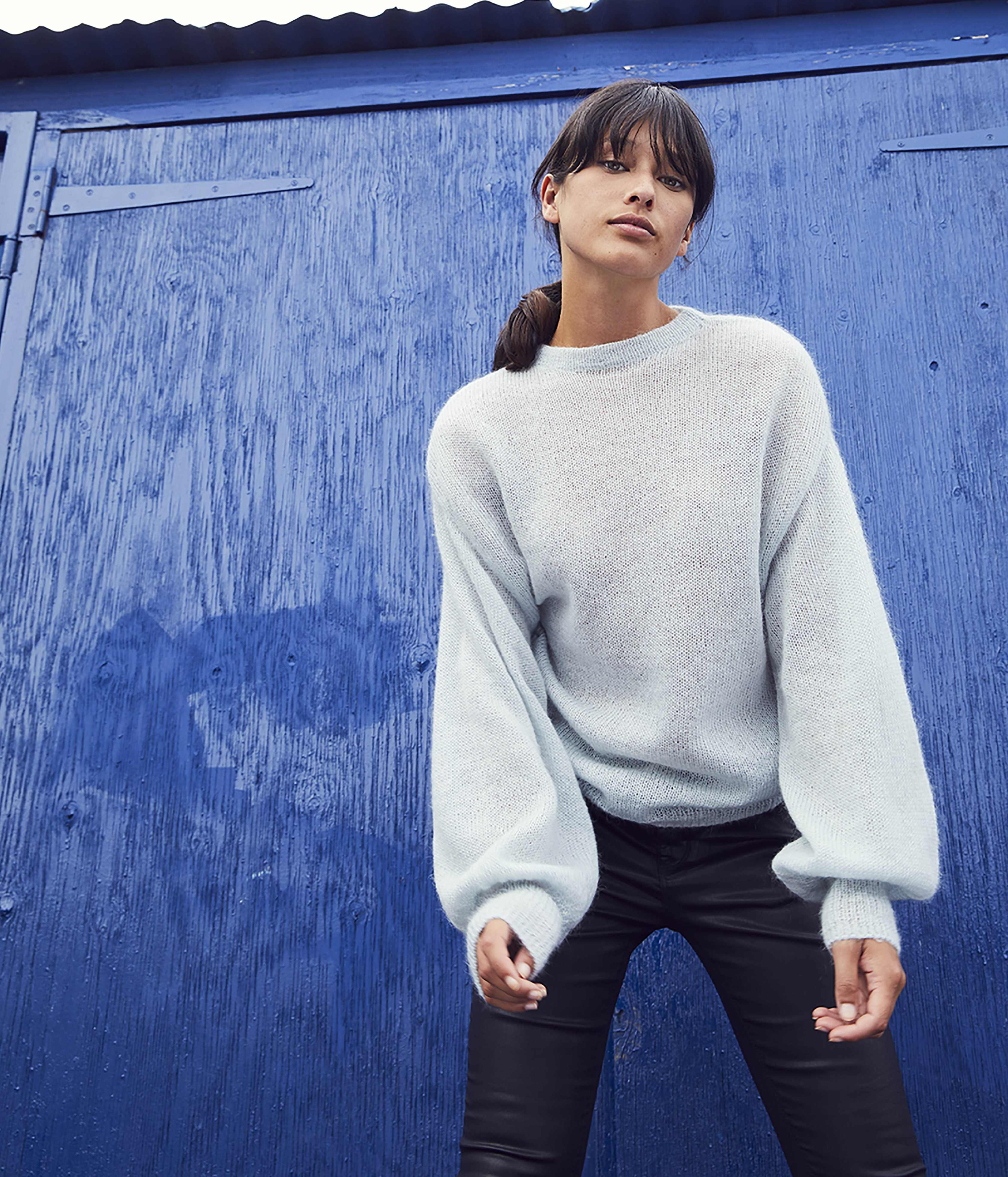 model wearing Oliver Bonas Mild Mohair Jumper and jeans
