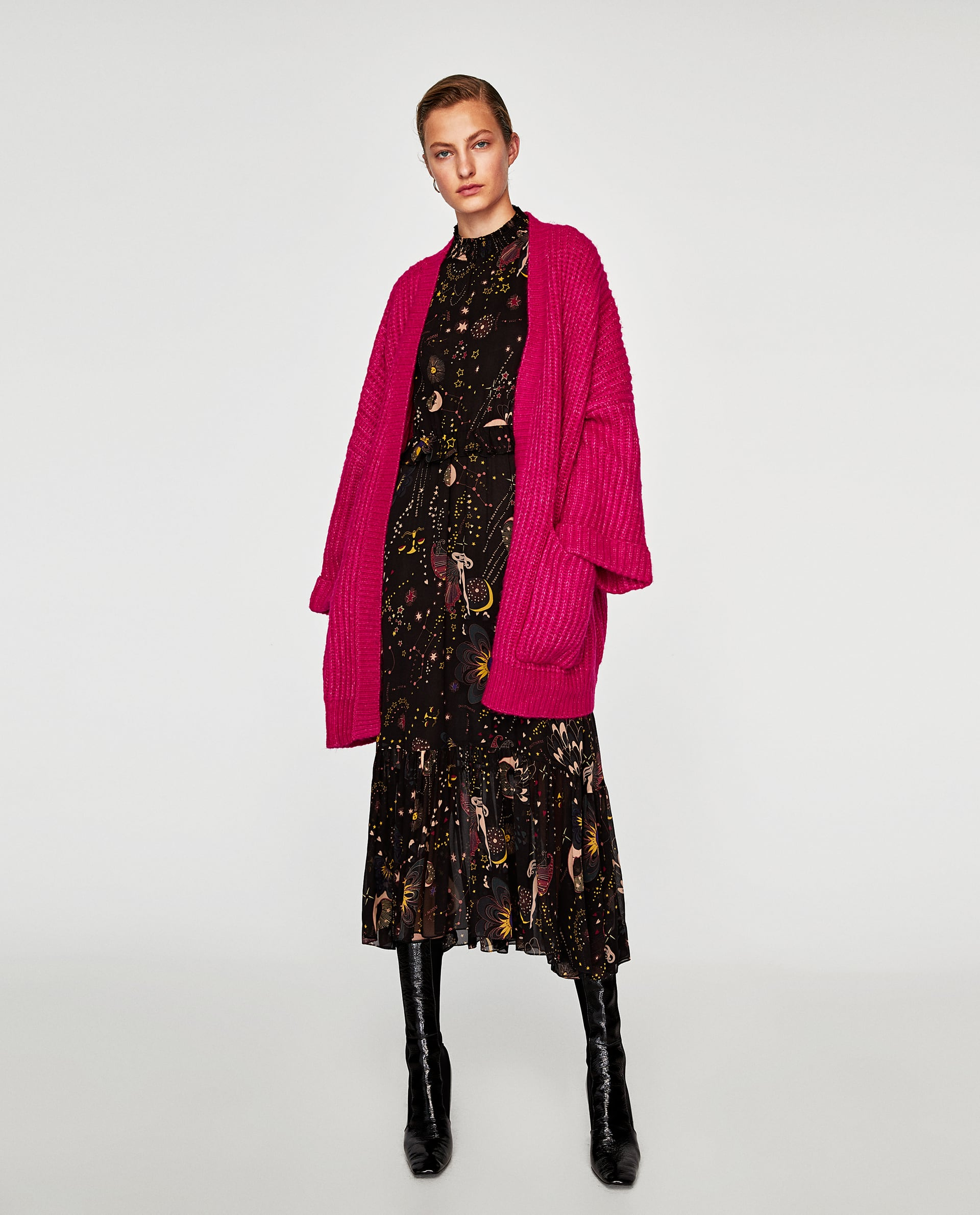 model wearing Zara Fuchsia Oversized Jacket, Printed Midi Dress and Square Toed High Heel Leather Ankle Boots
