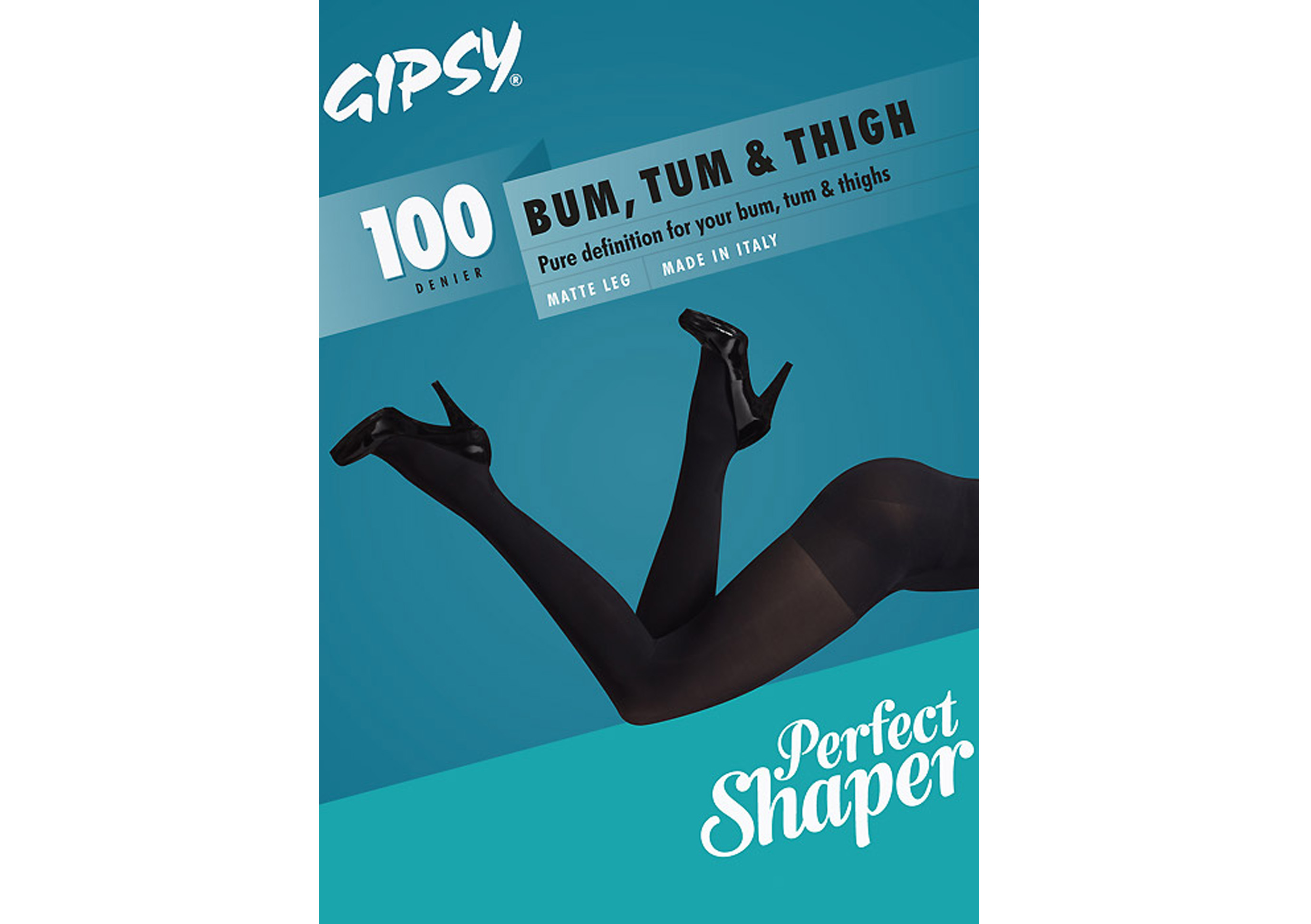 Gipsy Bum Tum and Thigh 100 Opaque Shaper Black Tights