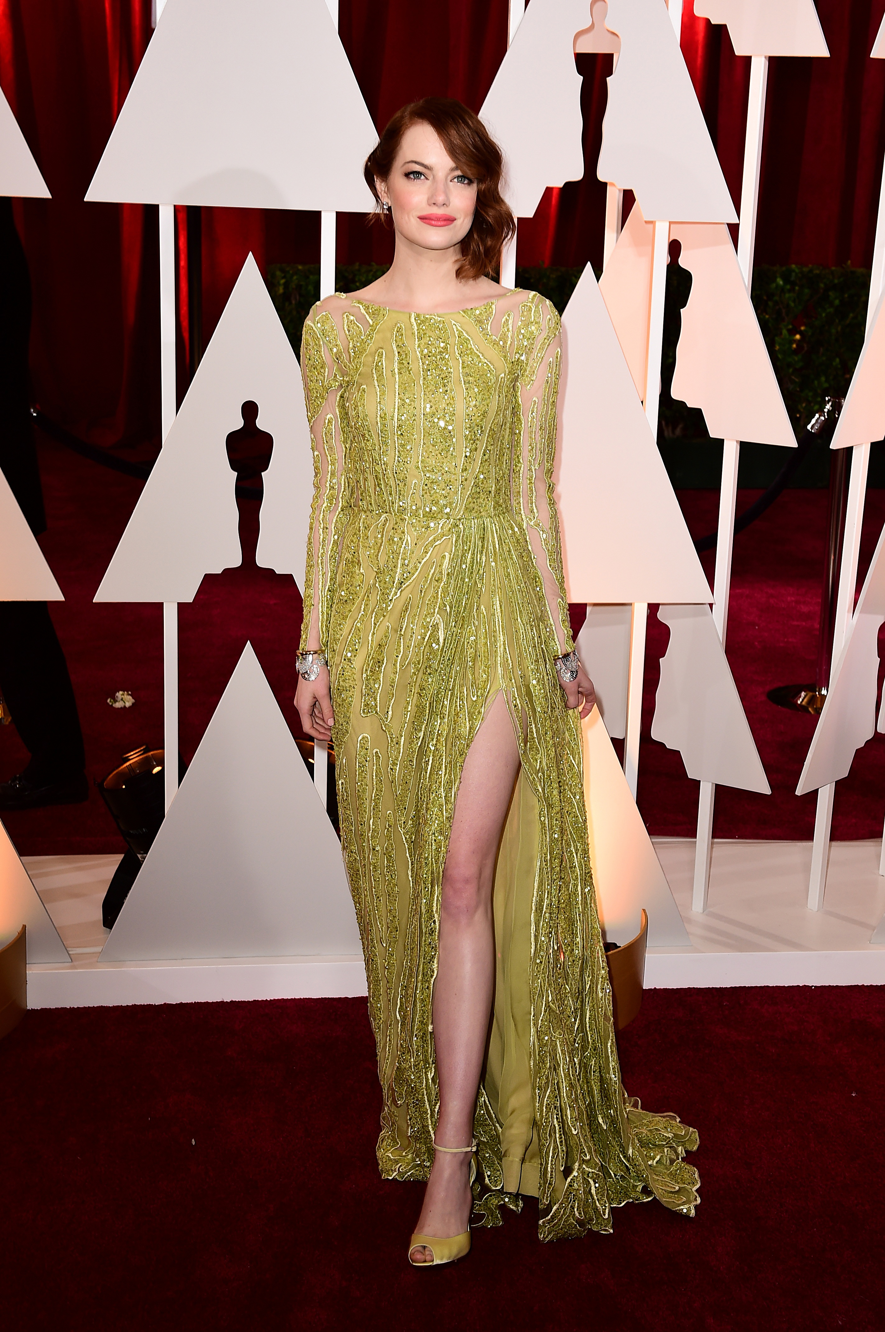 Emma Stone arriving at the 87th Academy Awards (Ian West/PA)