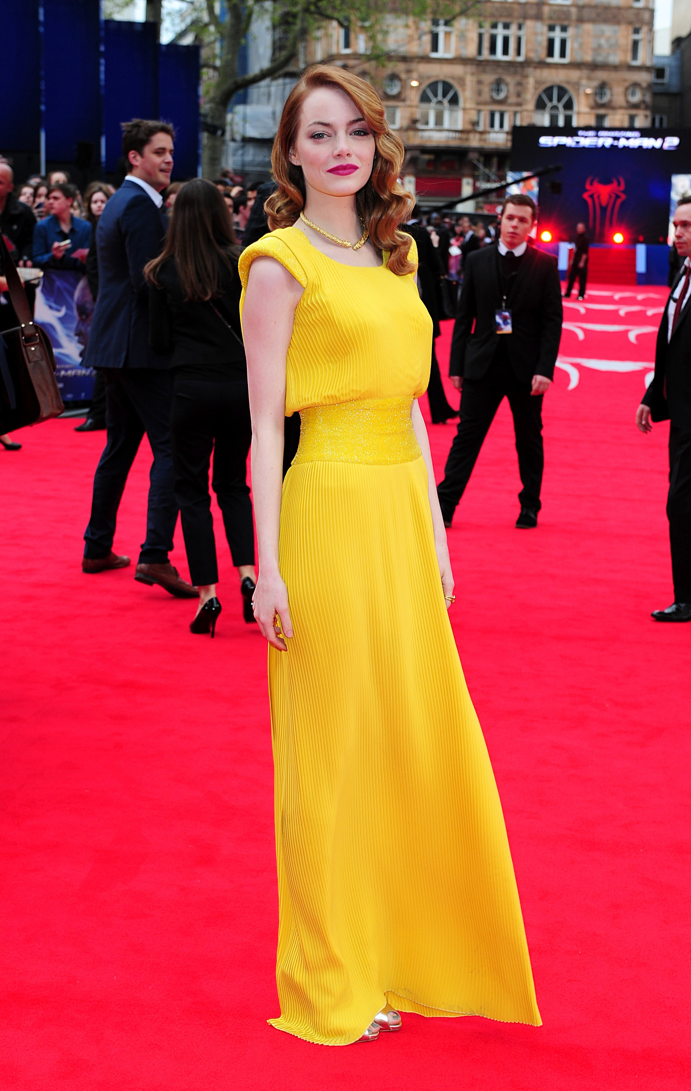 (Ian West/PA) Emma Stone arriving for the world premiere of the film The Amazing Spiderman 2, held at the Odeon Leicester Square, central London.