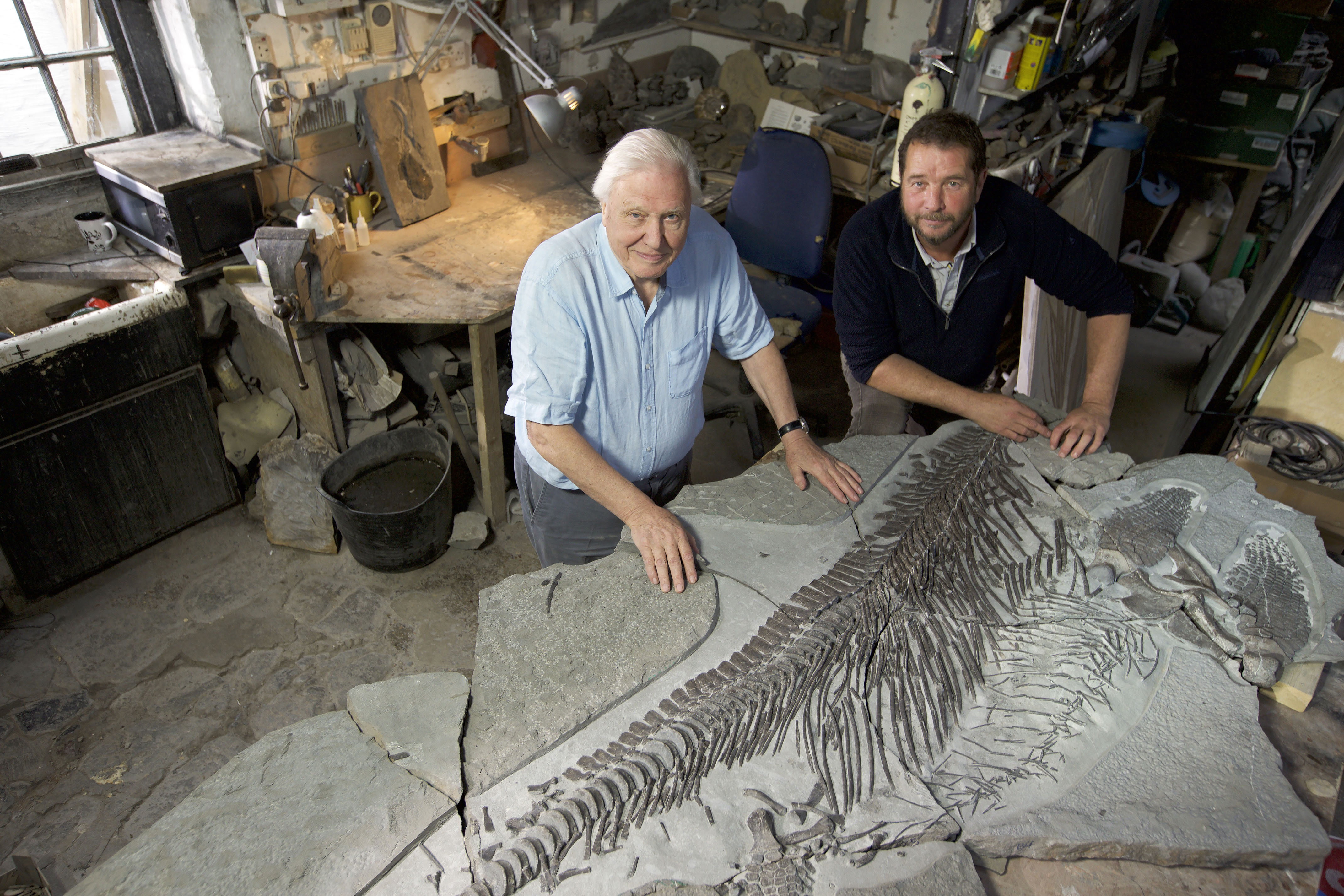 Attenborough and Chris Moore (BBC Pictures/Robin Cox/PA)