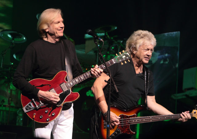 Justin Hayward and John Lodge of the classic rock band The Moody Blues perform in concert at the American Music Theater on Wednesday, March 12, 2014, in Lancaster, Pa. (Photo by Owen Sweeney/Invision/AP)