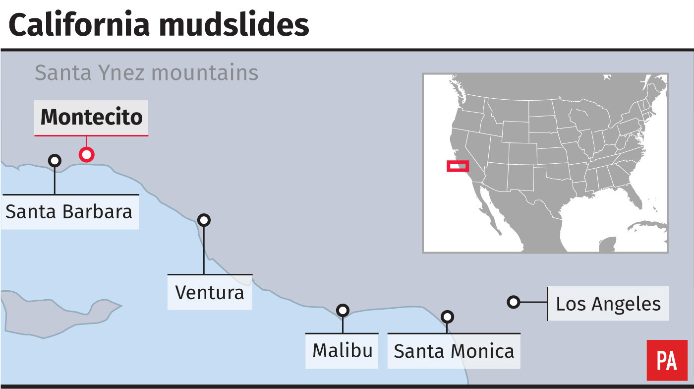 Map showing locations of California mudslides
