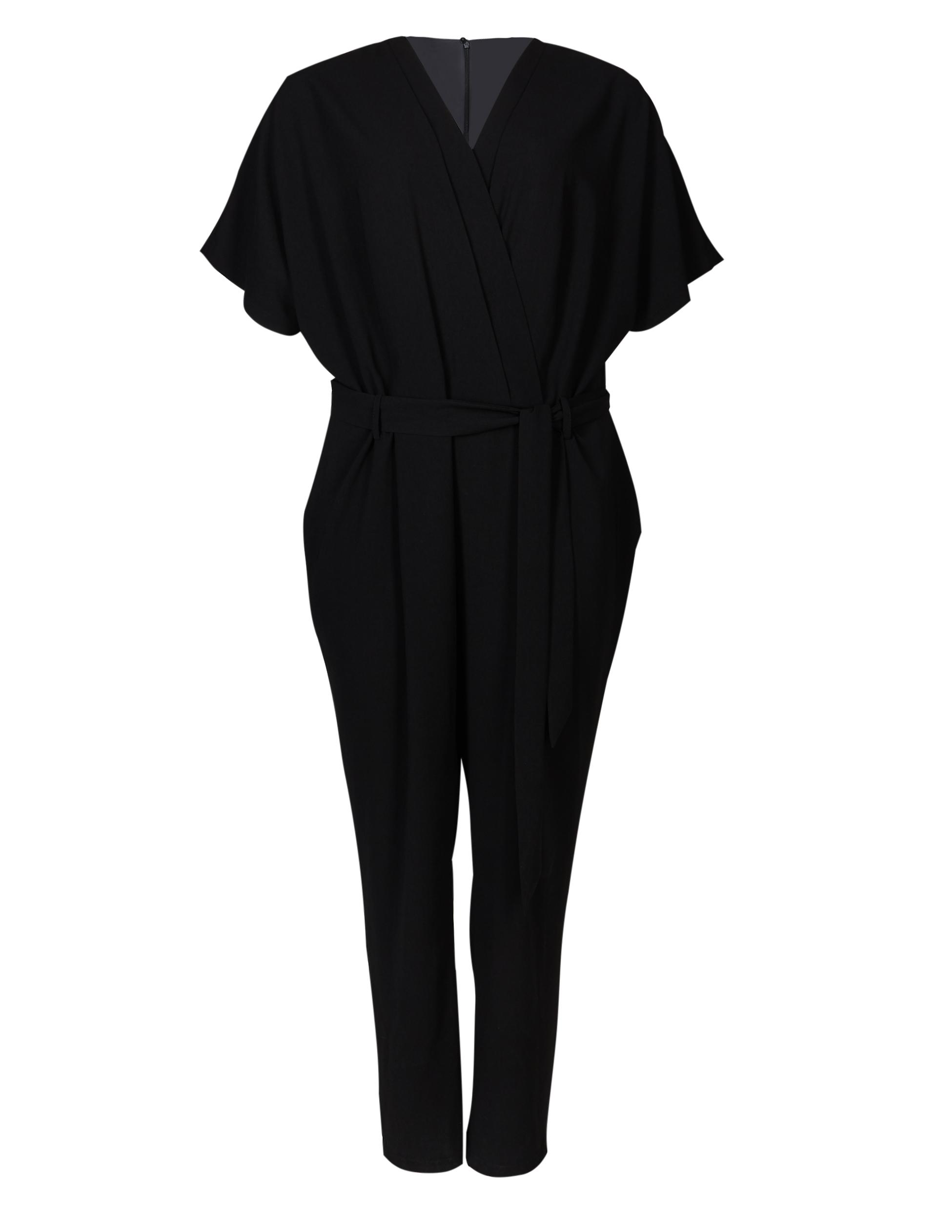 M&S Collection Curve Pleated Front Wrap Jumpsuit