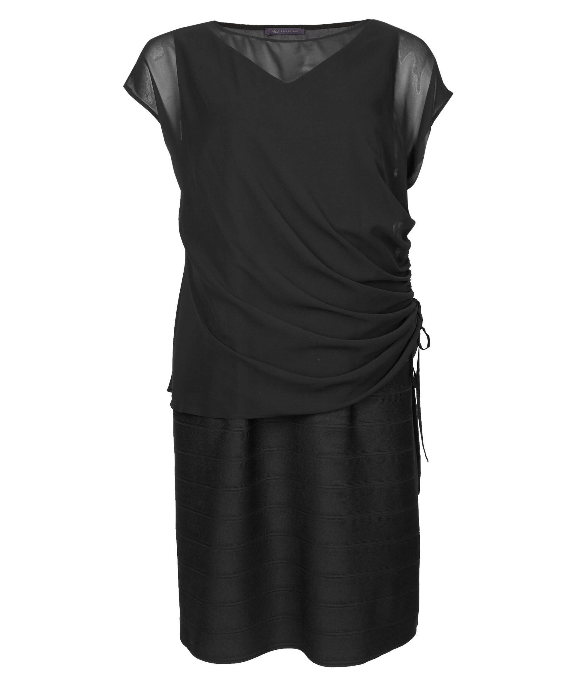 M&S Collection Curve Double Layer Bodycon Midi Dress