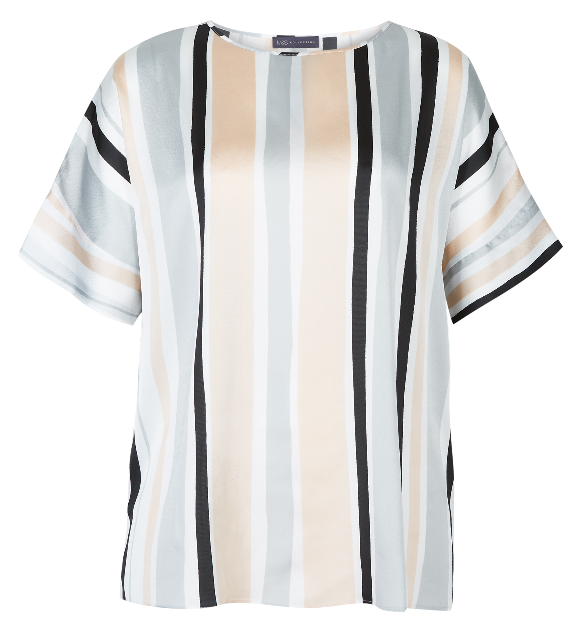 M&S Collection Curve Striped Round Neck Short Sleeve Blouse