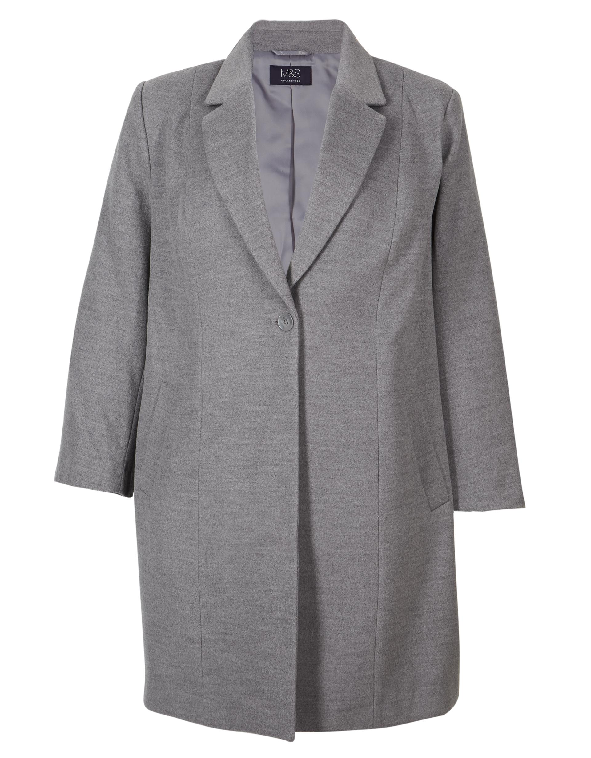 M&S Collection Curve Single Button Coat