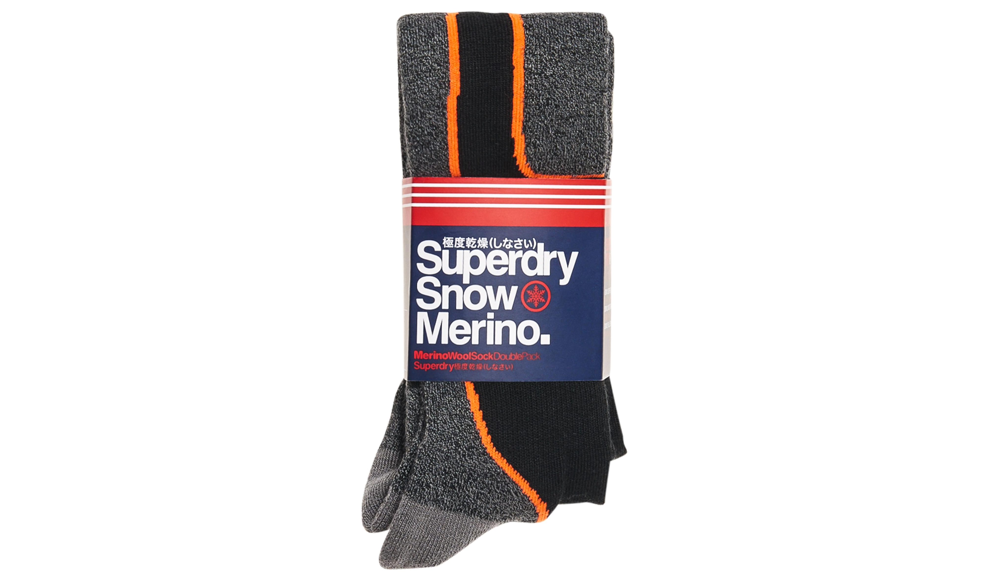 Superdry SD Merino Snow Socks Double Pack Dark Grey